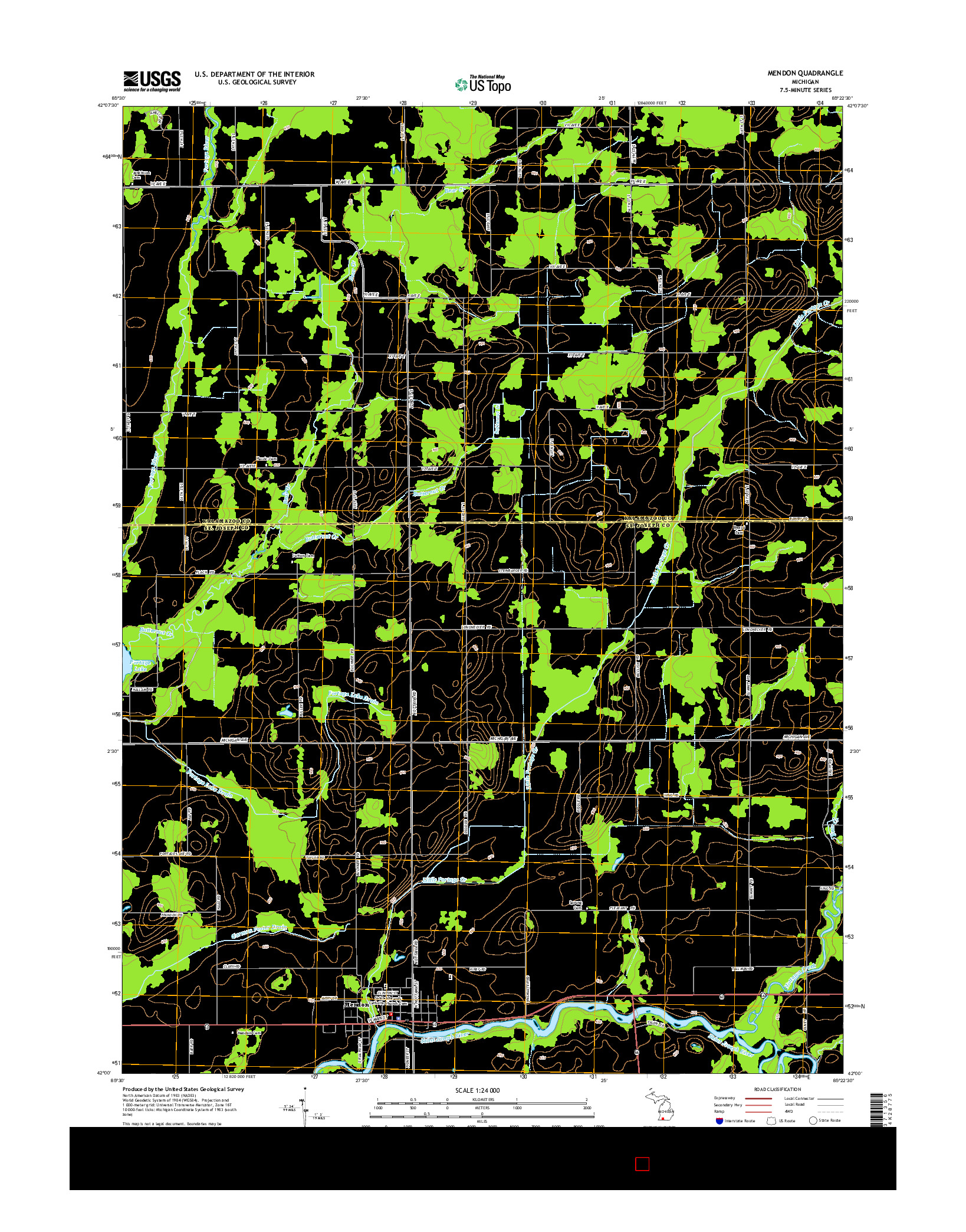USGS US TOPO 7.5-MINUTE MAP FOR MENDON, MI 2014