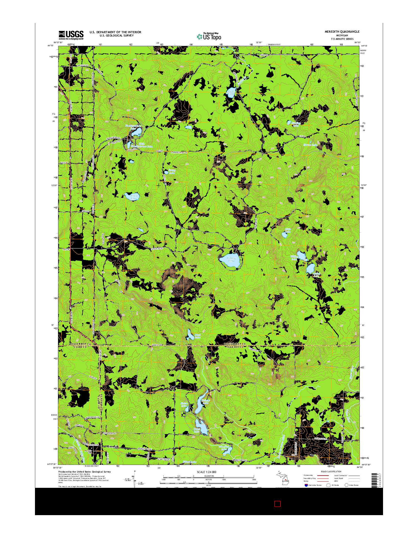 USGS US TOPO 7.5-MINUTE MAP FOR MEREDITH, MI 2014
