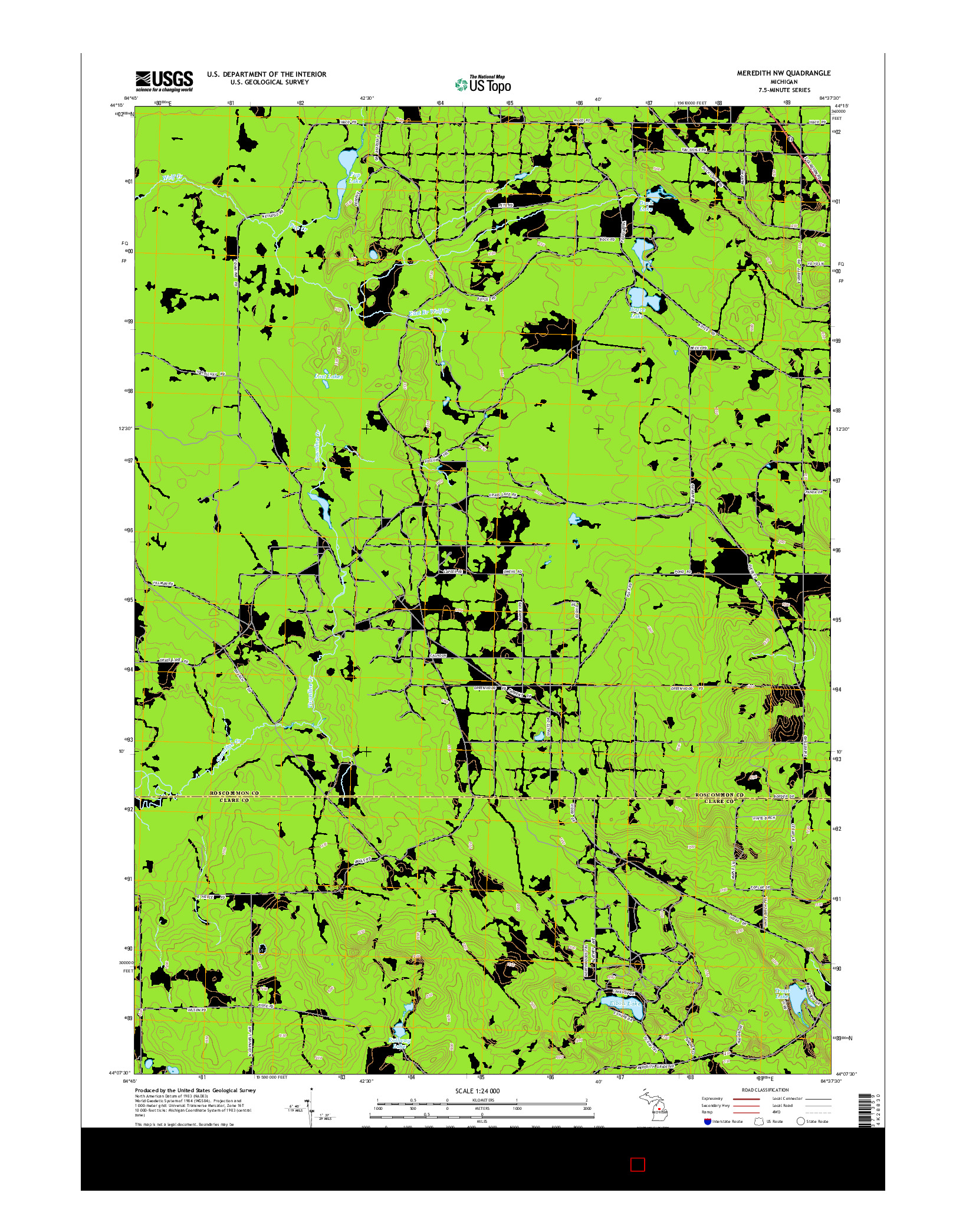 USGS US TOPO 7.5-MINUTE MAP FOR MEREDITH NW, MI 2014