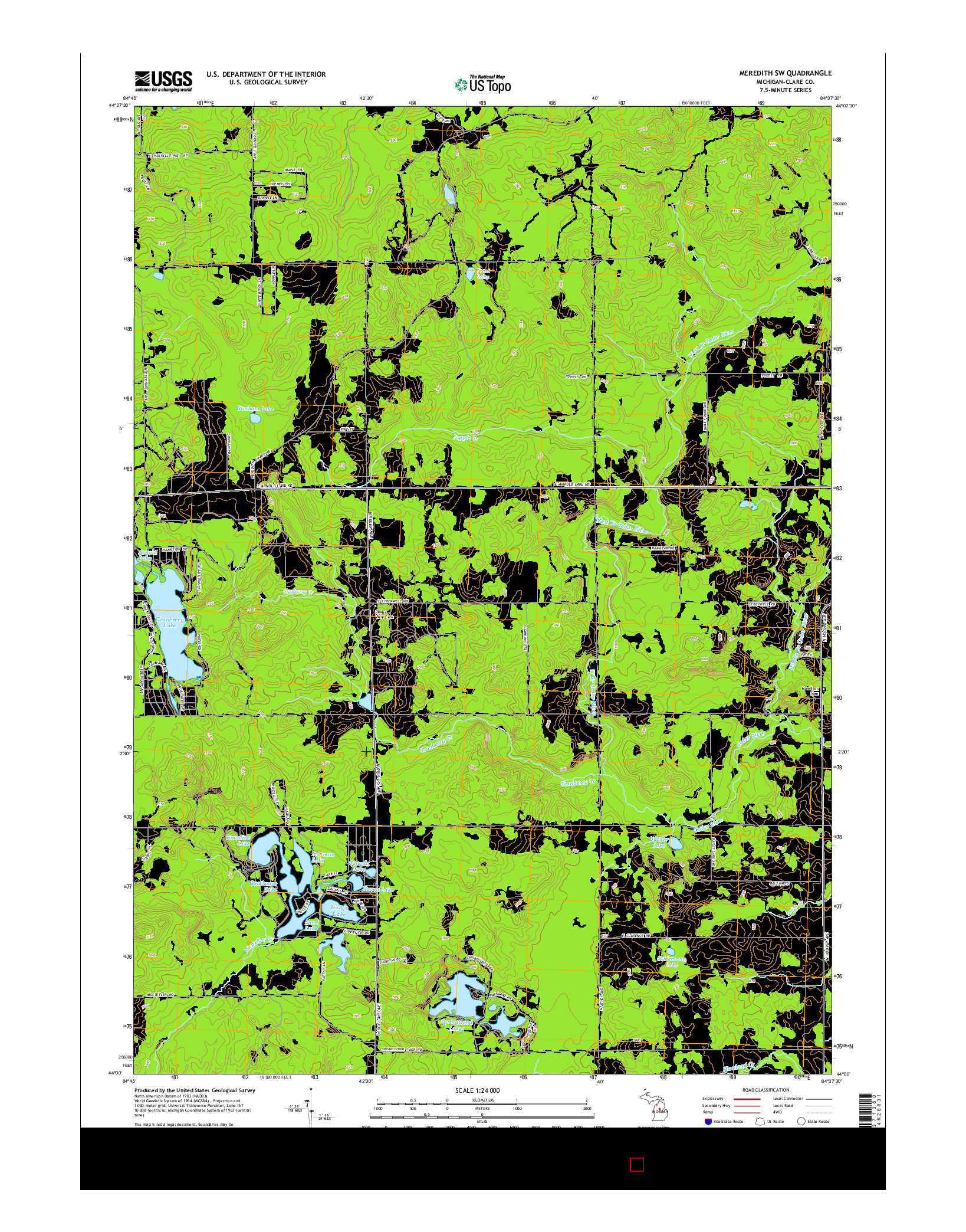 USGS US TOPO 7.5-MINUTE MAP FOR MEREDITH SW, MI 2014