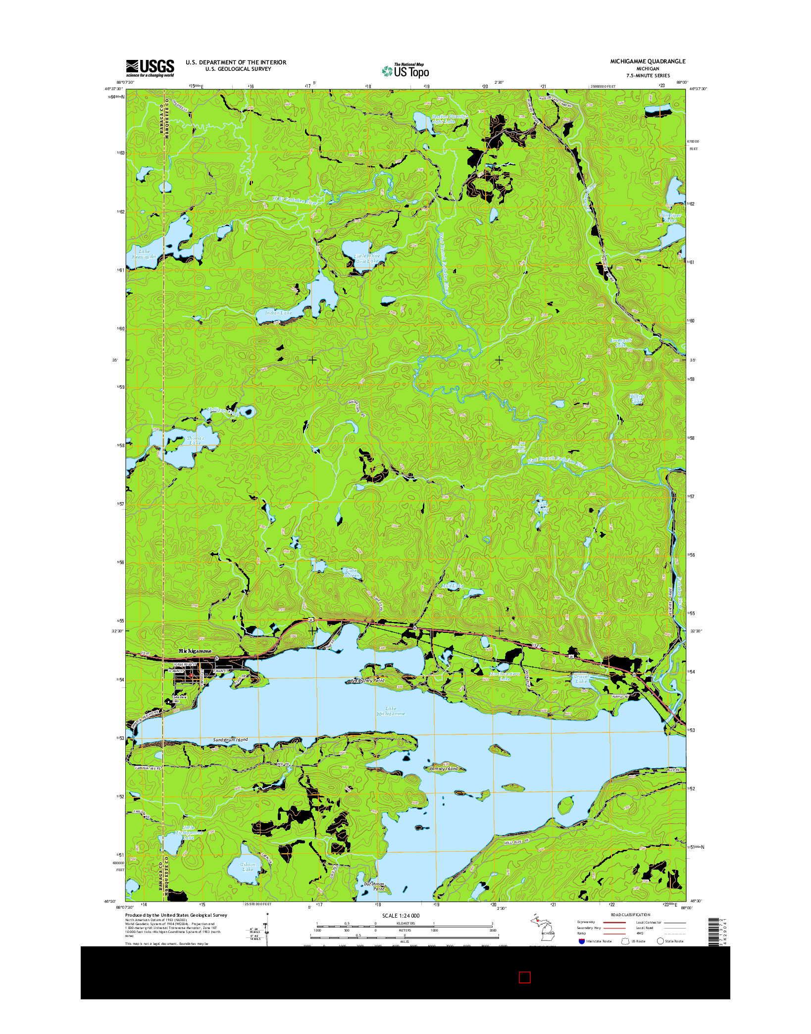 USGS US TOPO 7.5-MINUTE MAP FOR MICHIGAMME, MI 2014