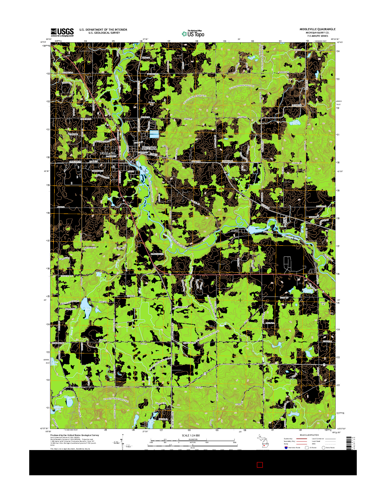 USGS US TOPO 7.5-MINUTE MAP FOR MIDDLEVILLE, MI 2014