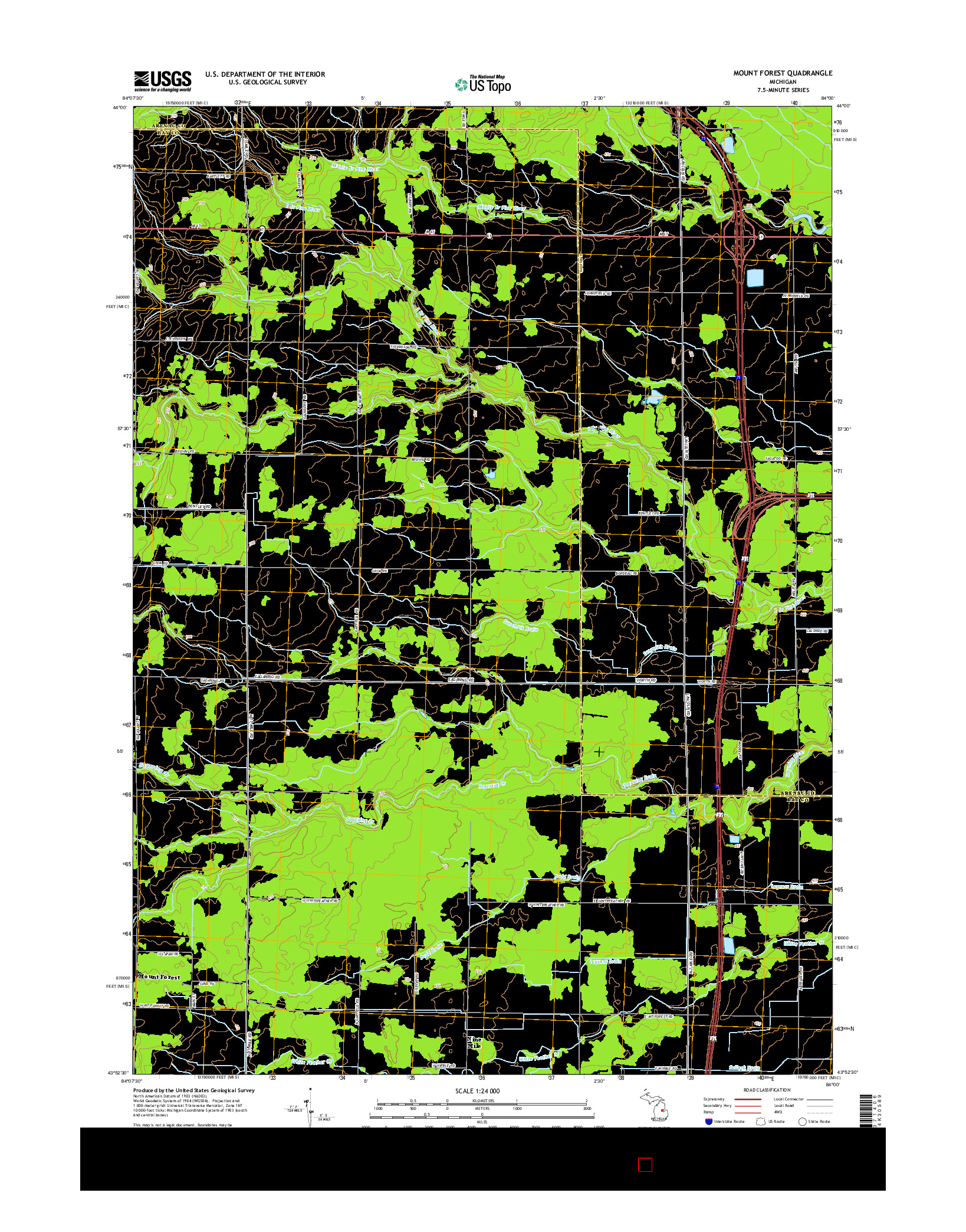 USGS US TOPO 7.5-MINUTE MAP FOR MOUNT FOREST, MI 2014