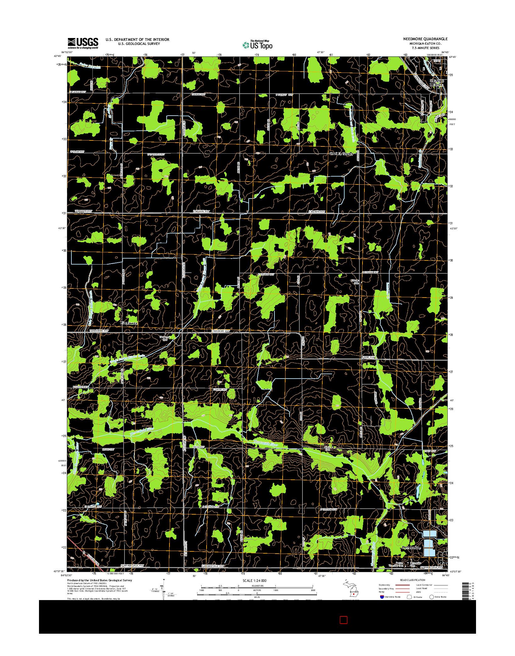 USGS US TOPO 7.5-MINUTE MAP FOR NEEDMORE, MI 2014