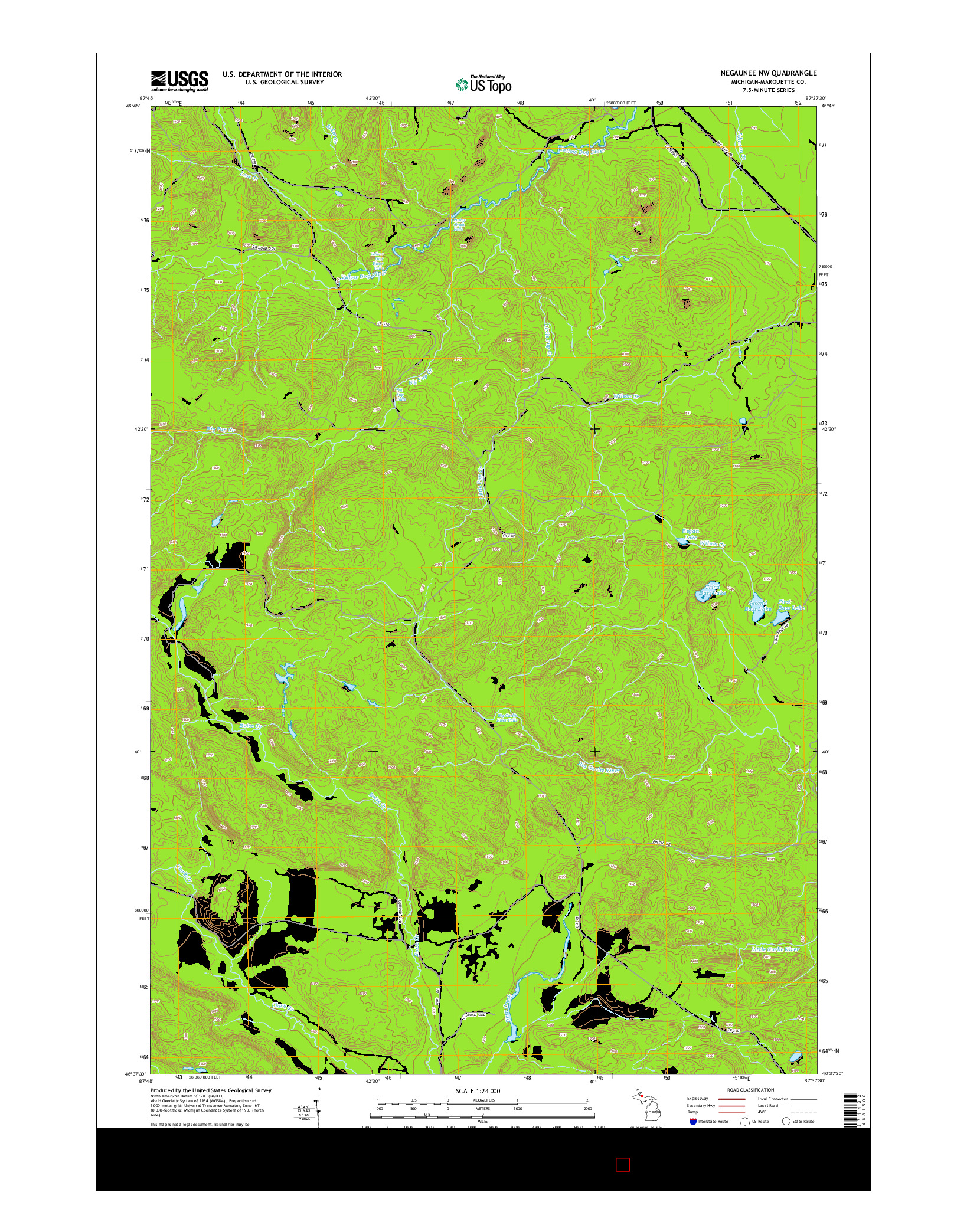 USGS US TOPO 7.5-MINUTE MAP FOR NEGAUNEE NW, MI 2014