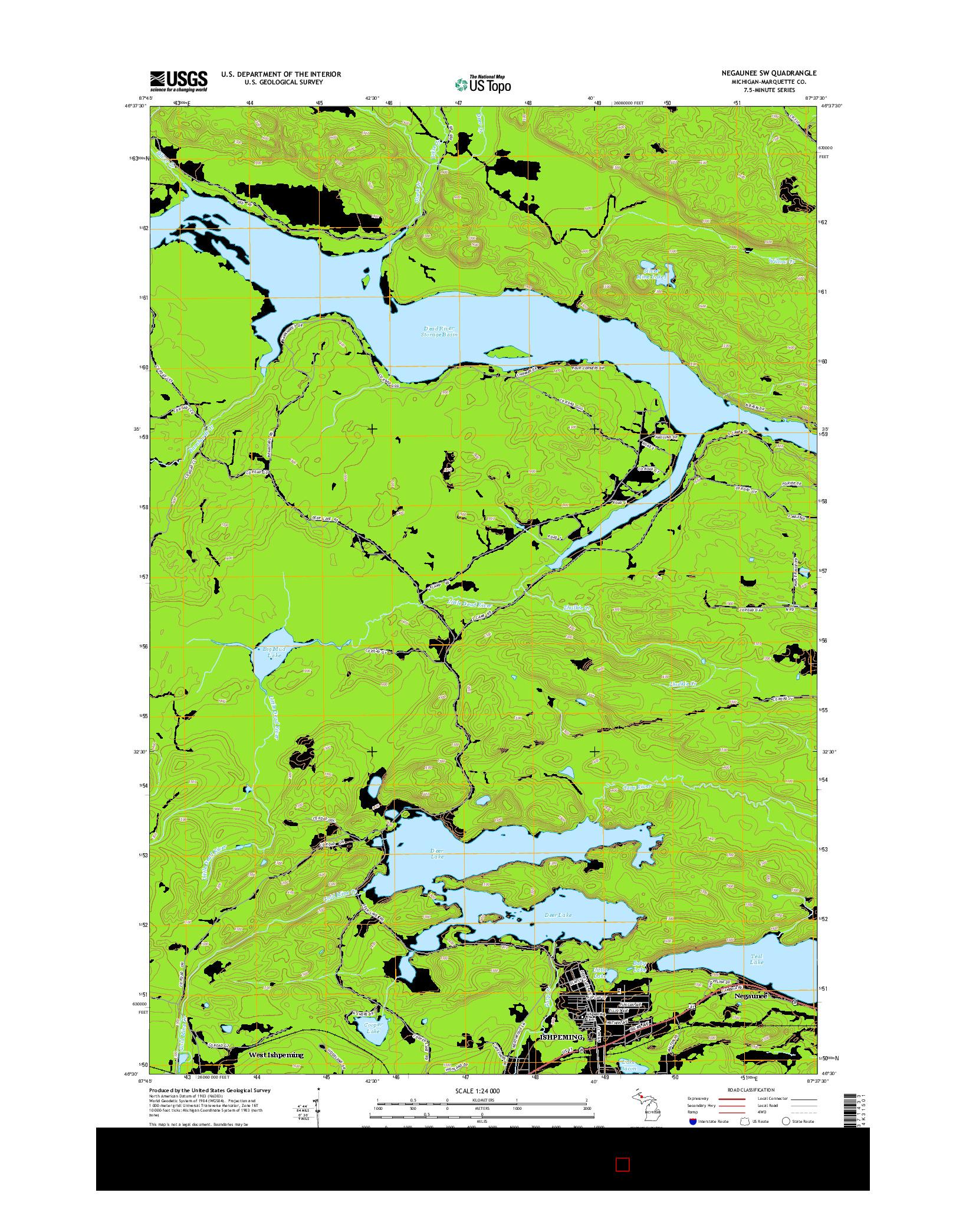 USGS US TOPO 7.5-MINUTE MAP FOR NEGAUNEE SW, MI 2014