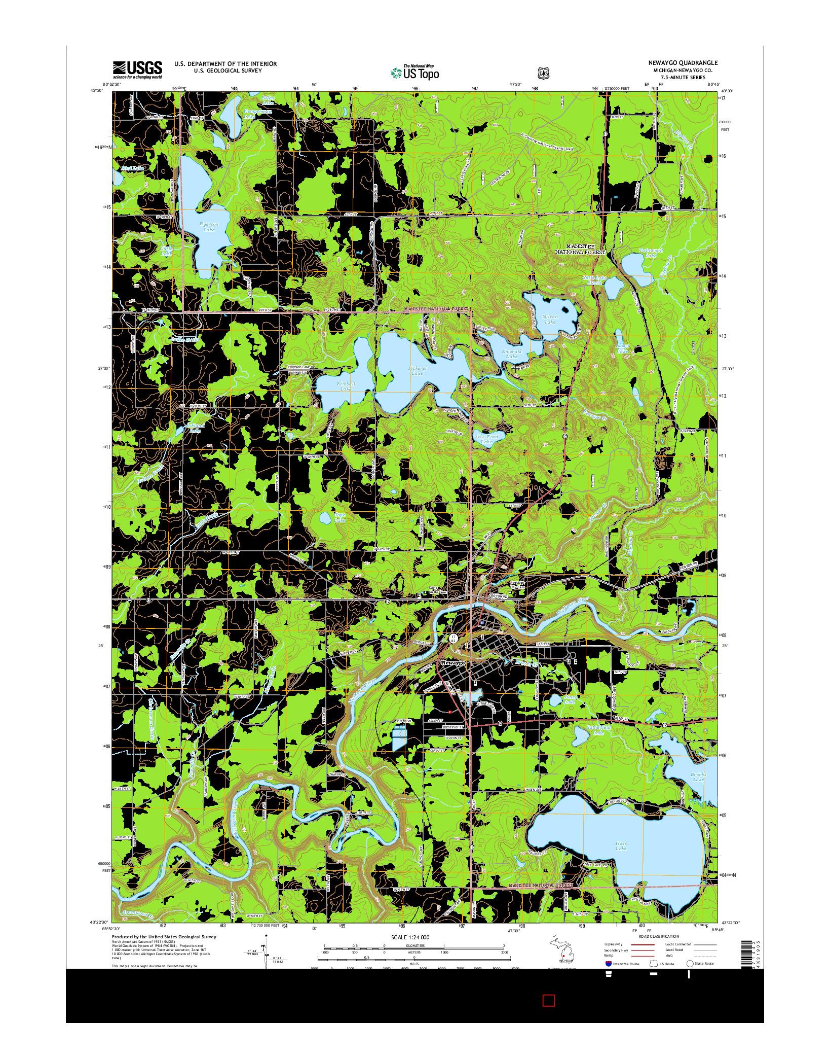 USGS US TOPO 7.5-MINUTE MAP FOR NEWAYGO, MI 2014
