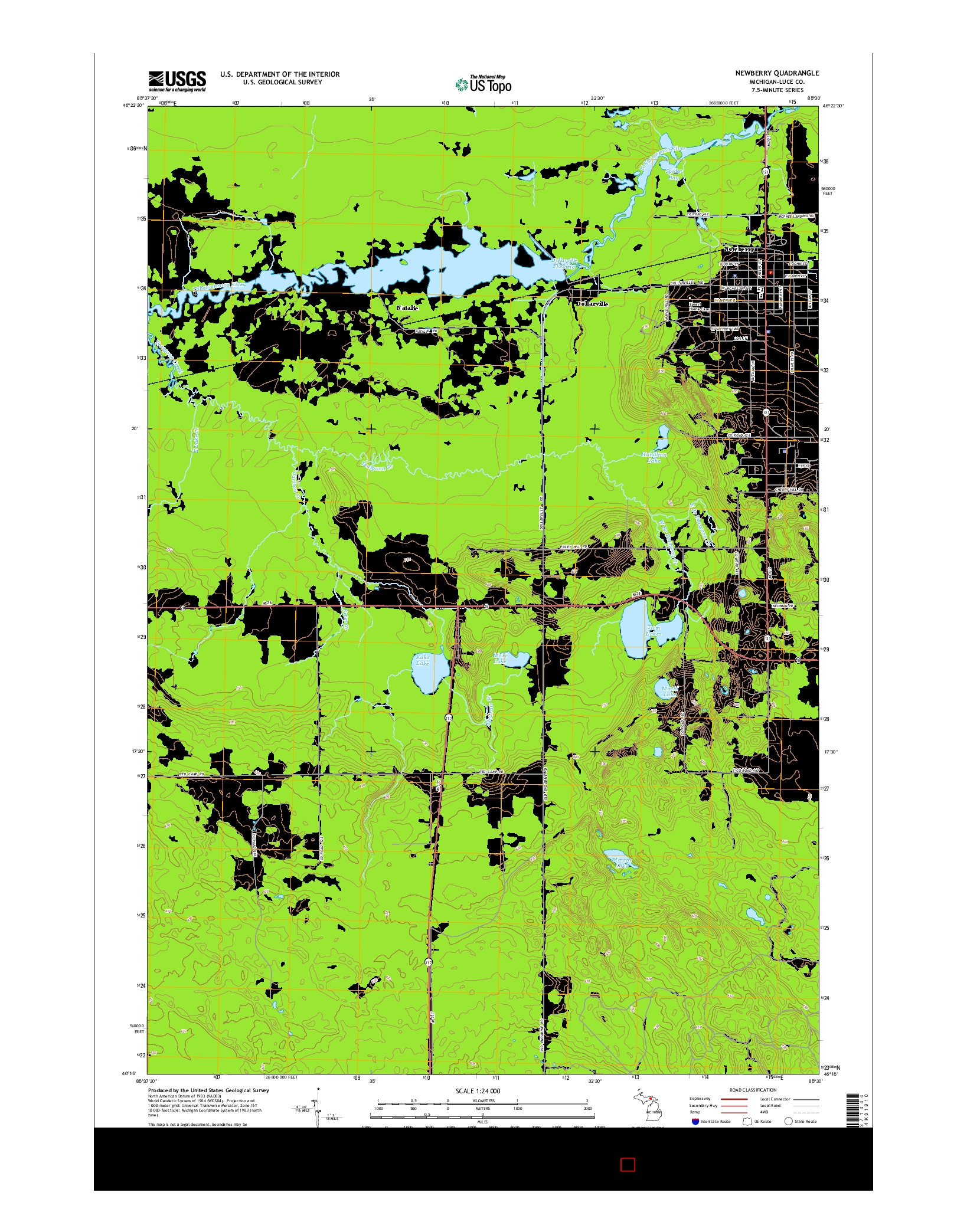 USGS US TOPO 7.5-MINUTE MAP FOR NEWBERRY, MI 2014
