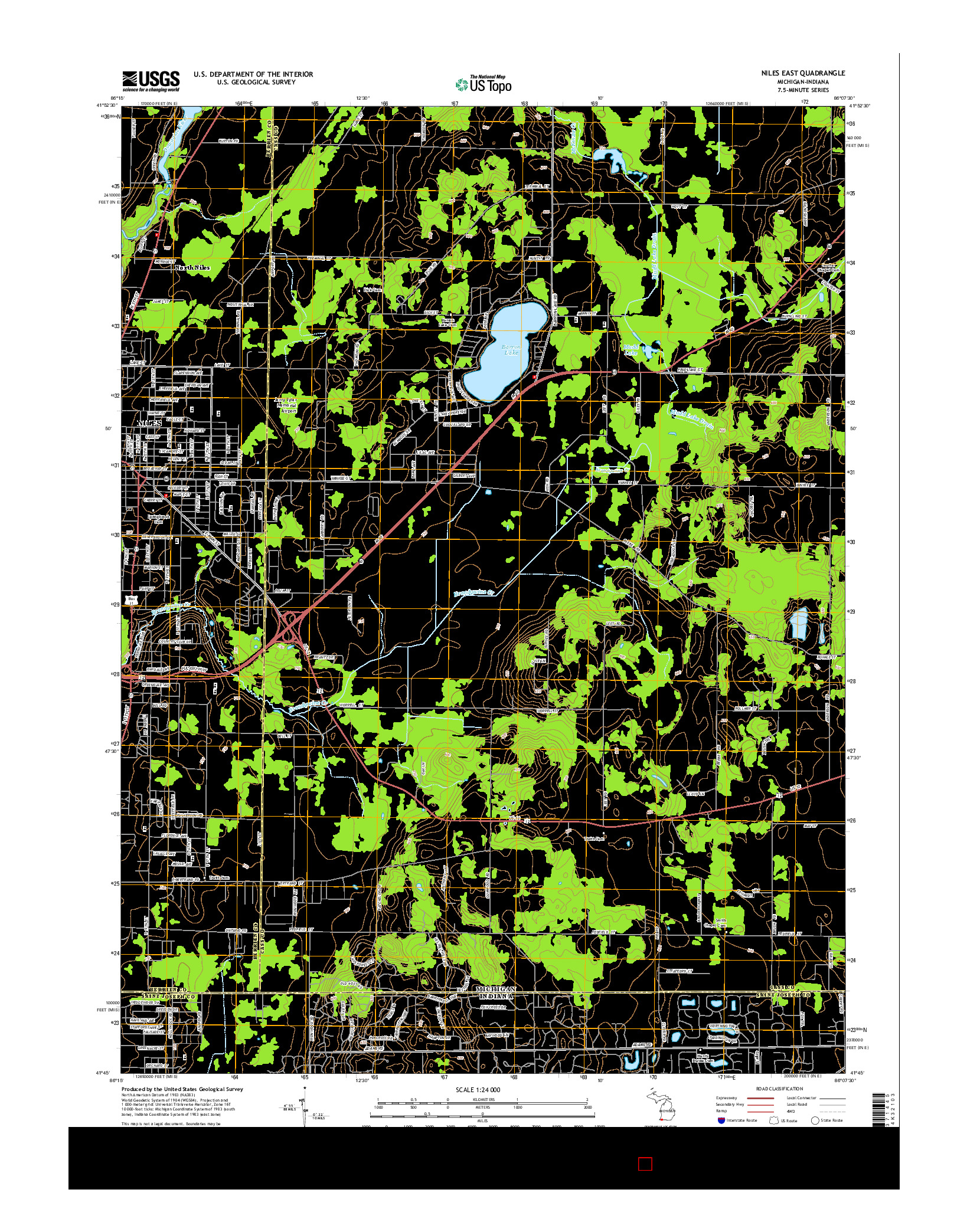 USGS US TOPO 7.5-MINUTE MAP FOR NILES EAST, MI-IN 2014