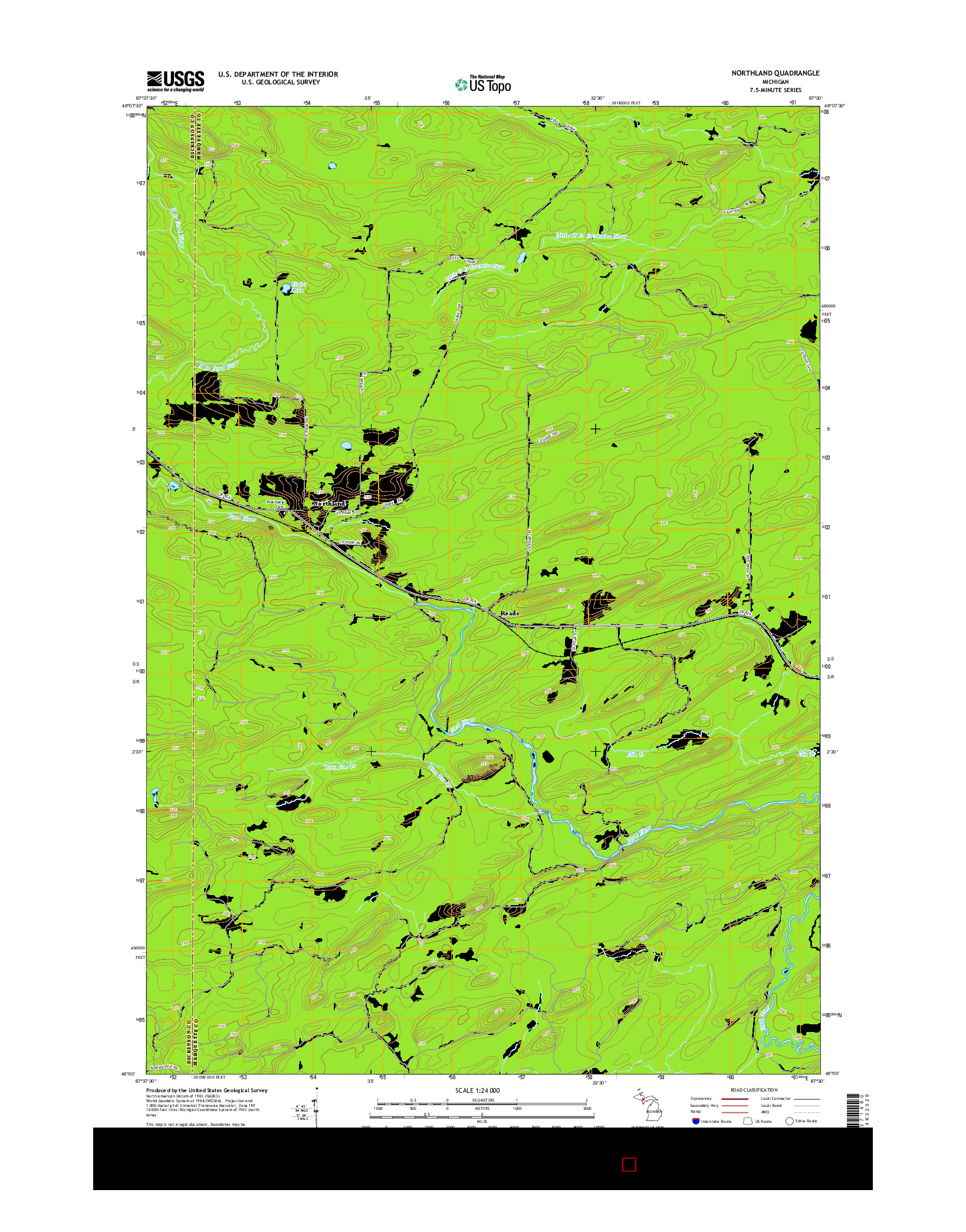 USGS US TOPO 7.5-MINUTE MAP FOR NORTHLAND, MI 2014
