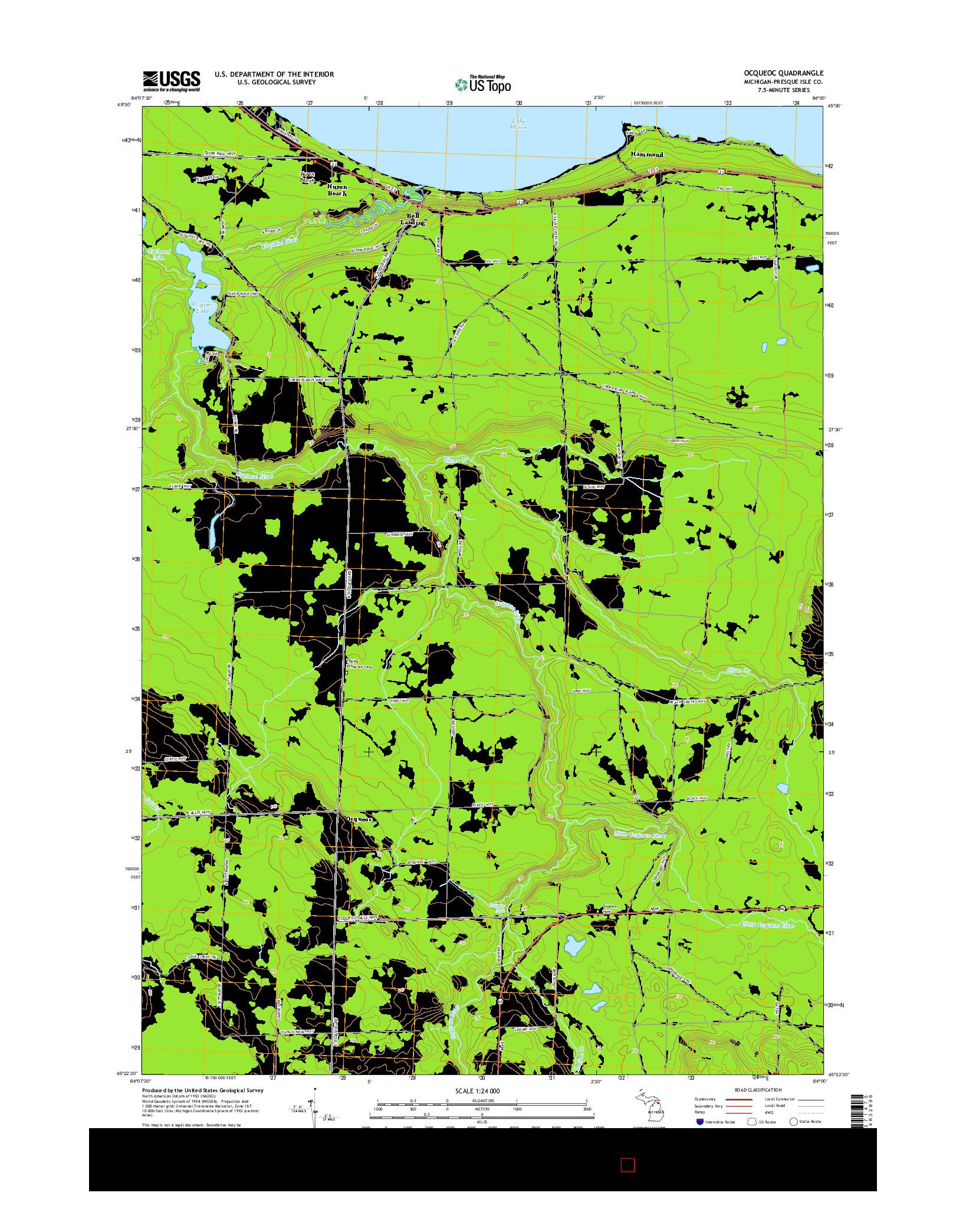 USGS US TOPO 7.5-MINUTE MAP FOR OCQUEOC, MI 2014