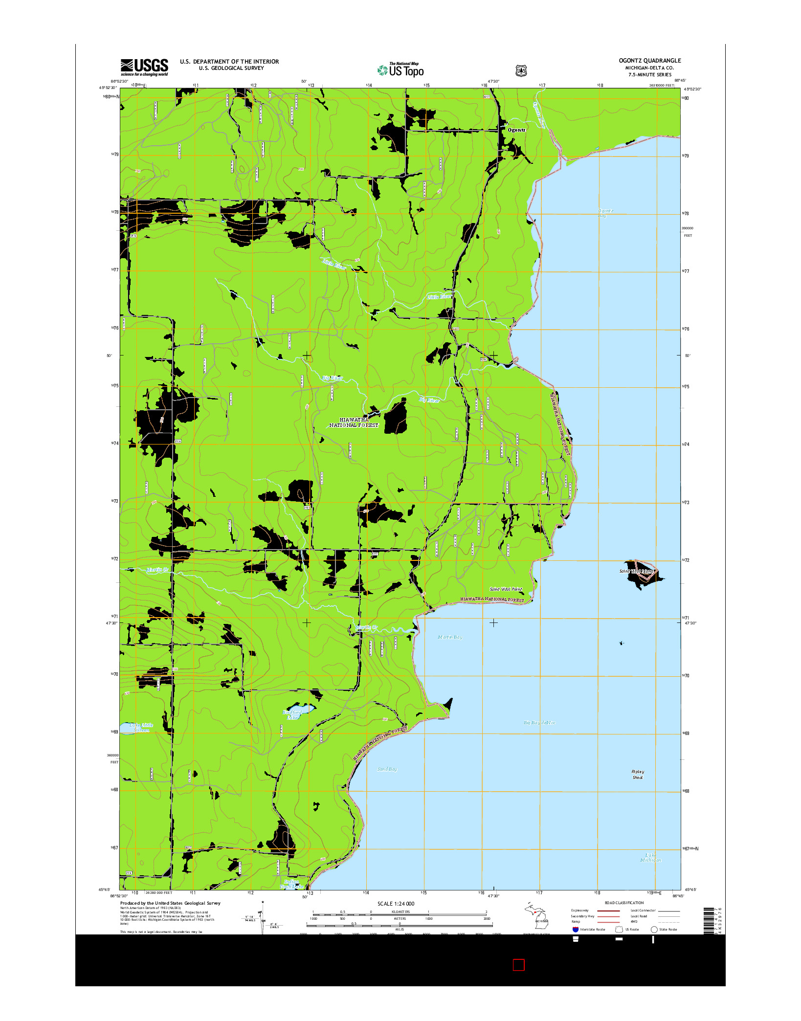 USGS US TOPO 7.5-MINUTE MAP FOR OGONTZ, MI 2014
