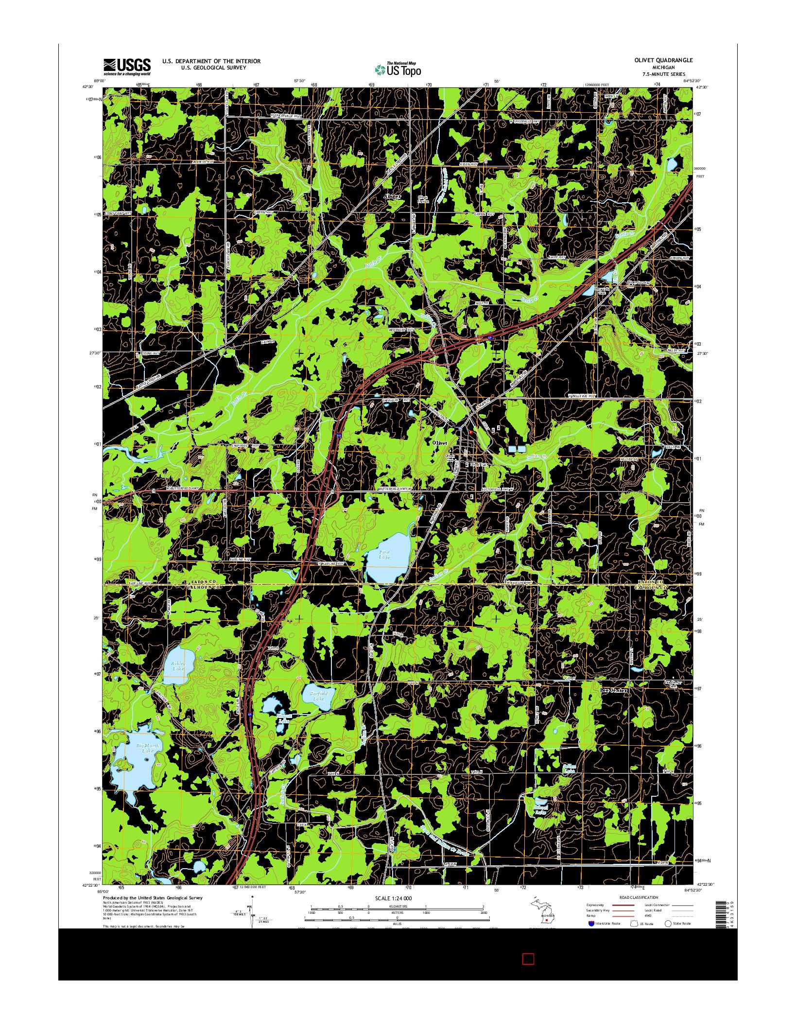 USGS US TOPO 7.5-MINUTE MAP FOR OLIVET, MI 2014
