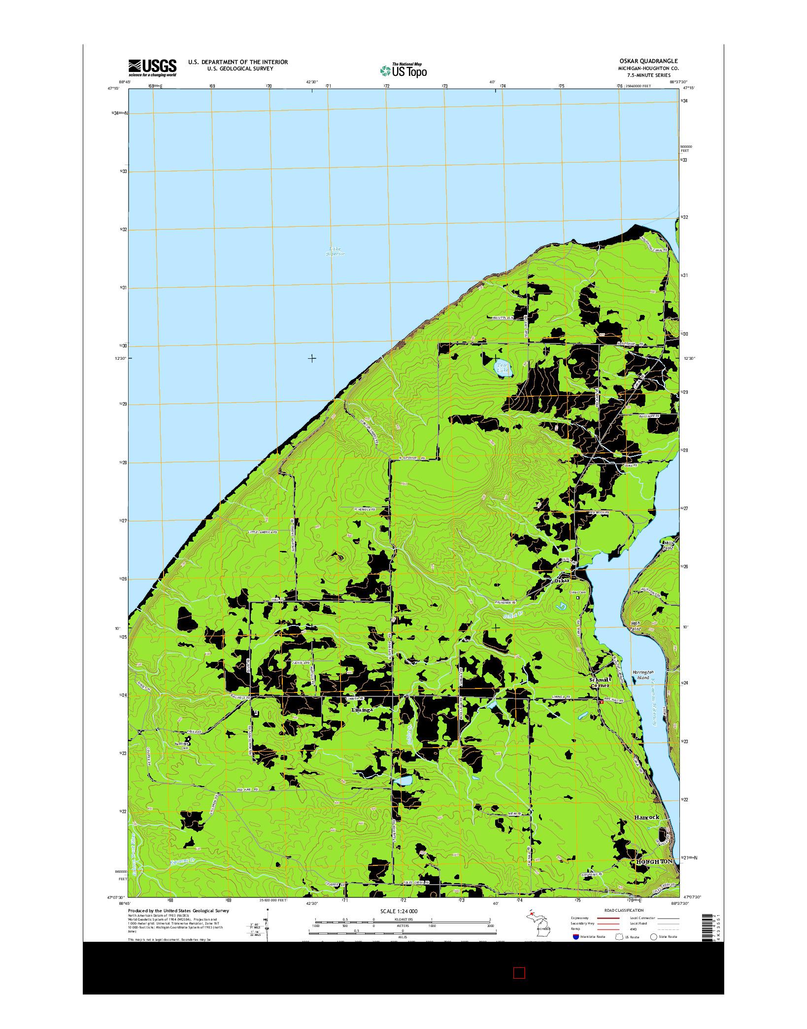 USGS US TOPO 7.5-MINUTE MAP FOR OSKAR, MI 2014