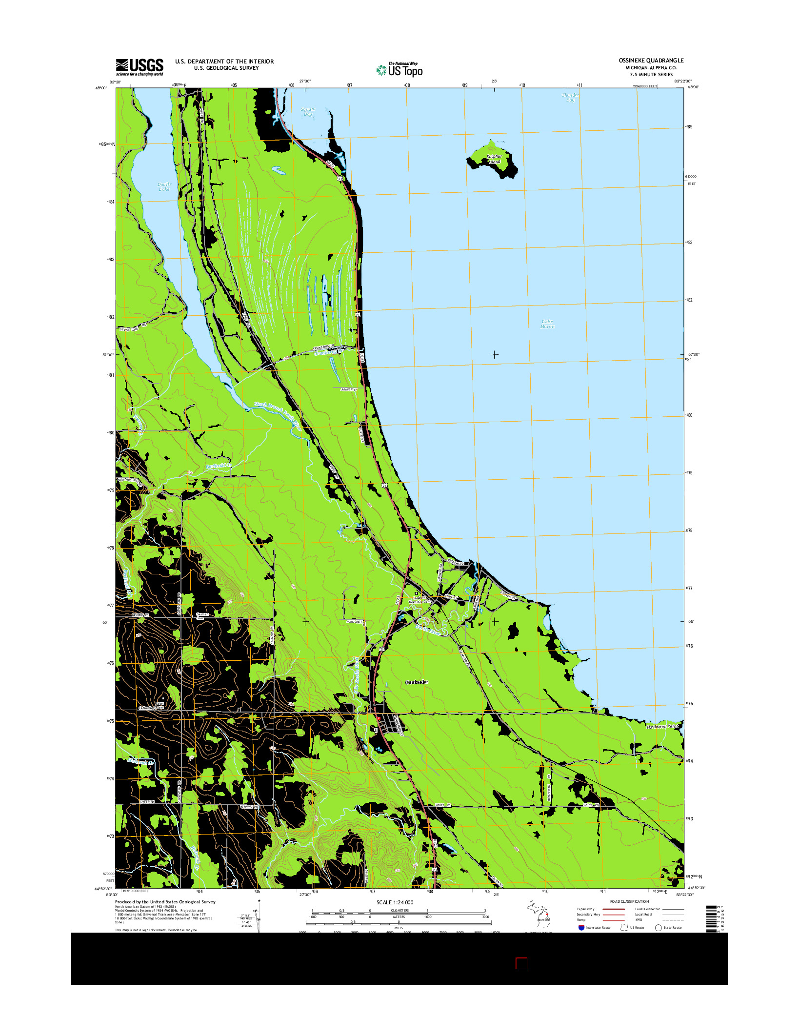 USGS US TOPO 7.5-MINUTE MAP FOR OSSINEKE, MI 2014