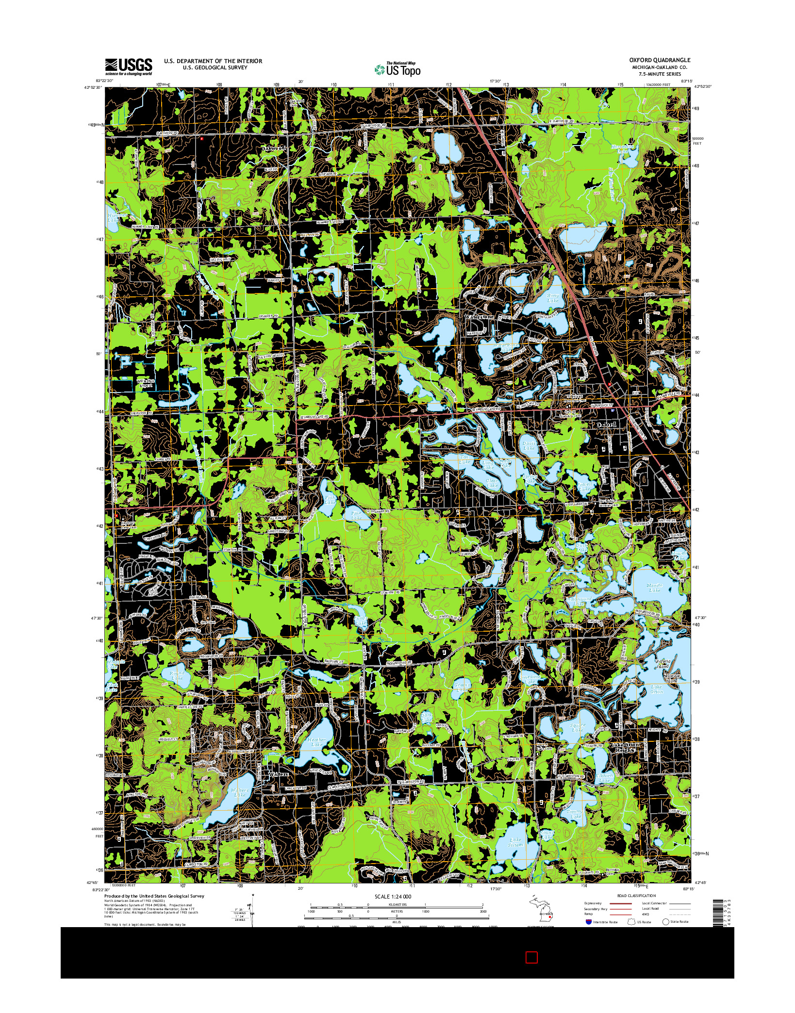 USGS US TOPO 7.5-MINUTE MAP FOR OXFORD, MI 2014
