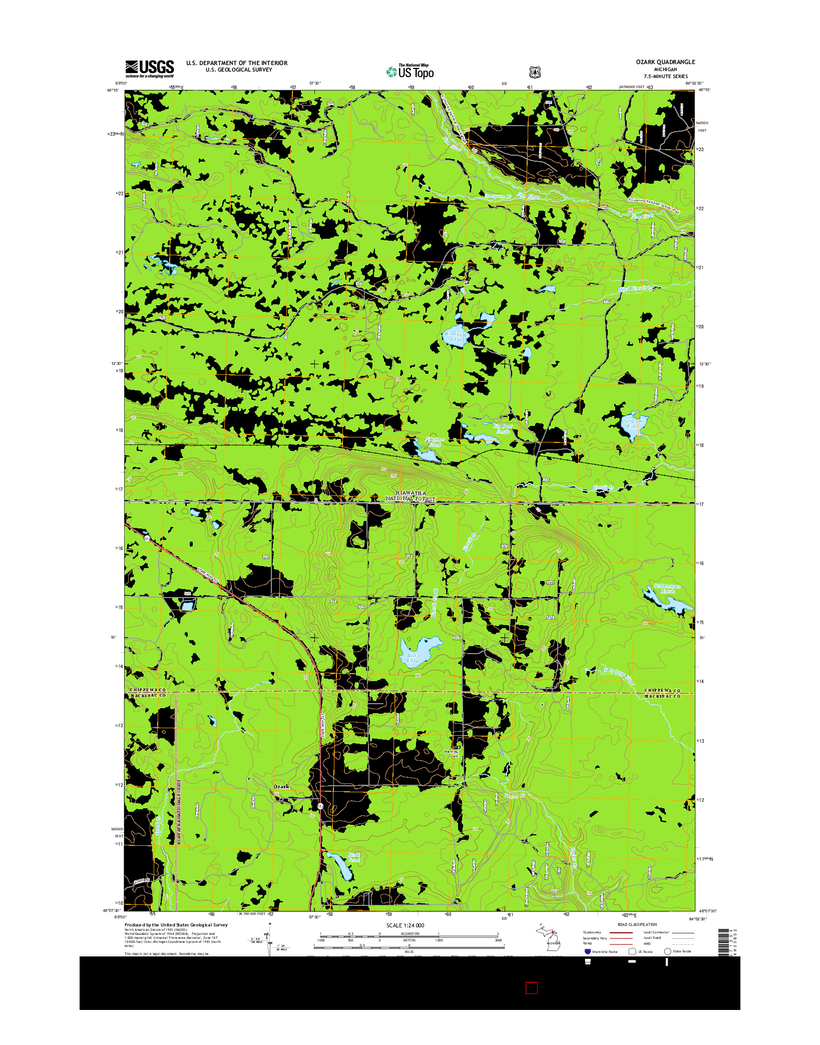 USGS US TOPO 7.5-MINUTE MAP FOR OZARK, MI 2014