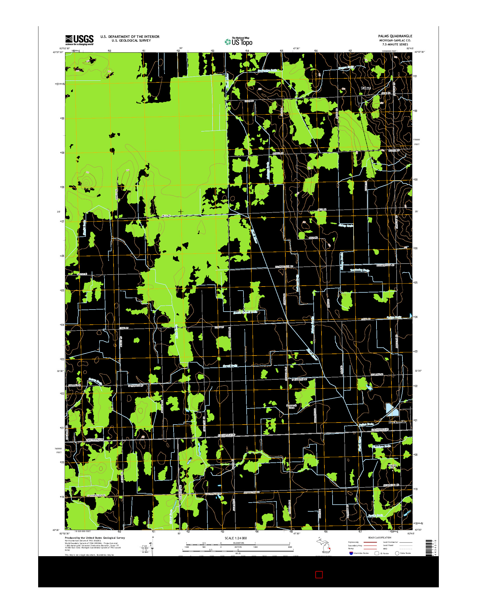 USGS US TOPO 7.5-MINUTE MAP FOR PALMS, MI 2014