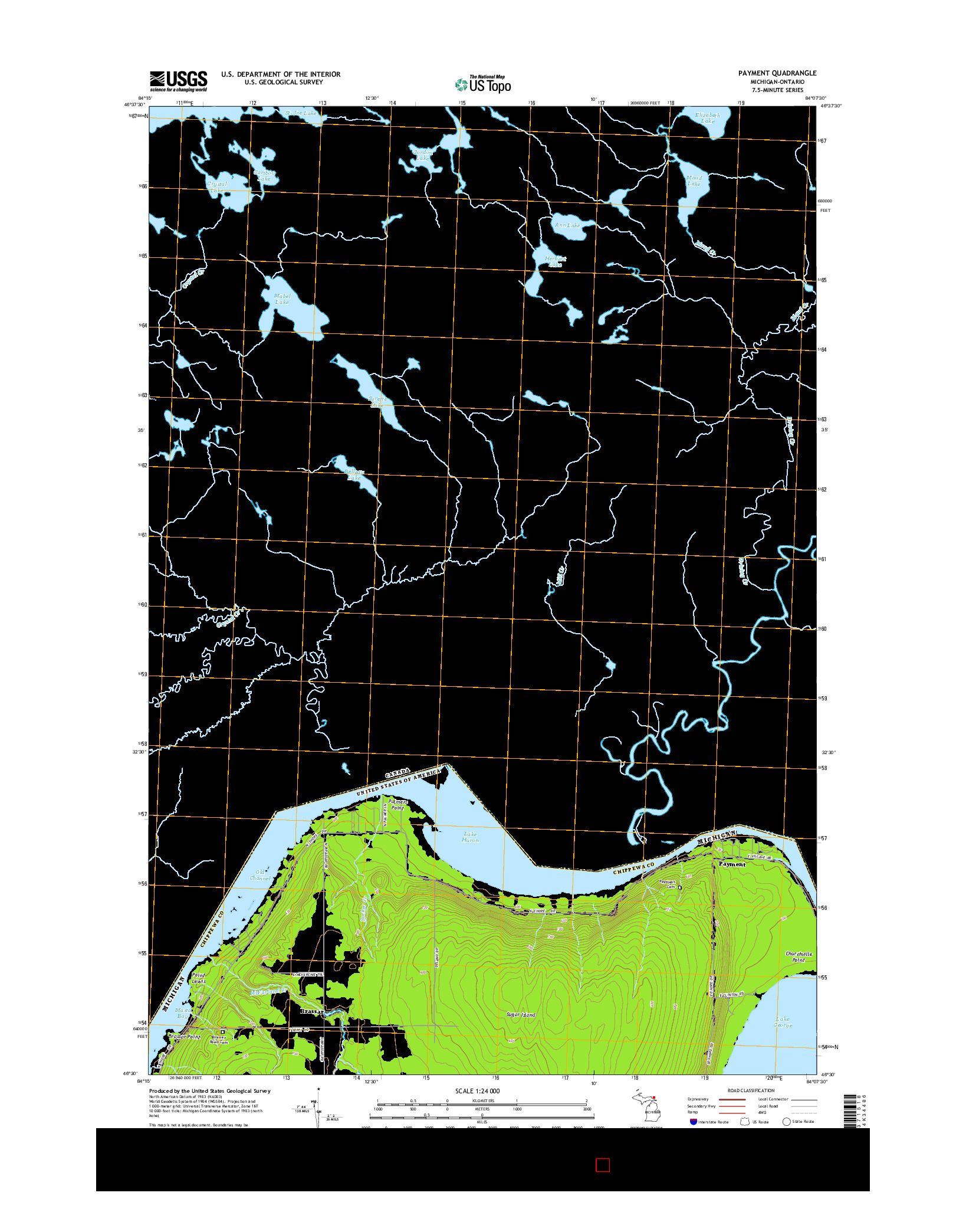 USGS US TOPO 7.5-MINUTE MAP FOR PAYMENT, MI-ON 2014