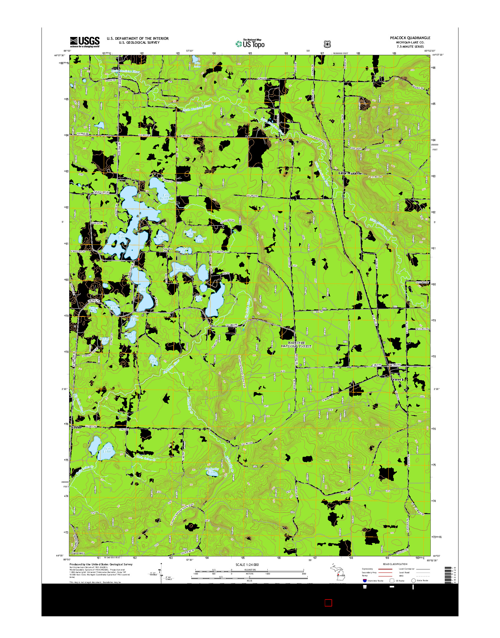 USGS US TOPO 7.5-MINUTE MAP FOR PEACOCK, MI 2014