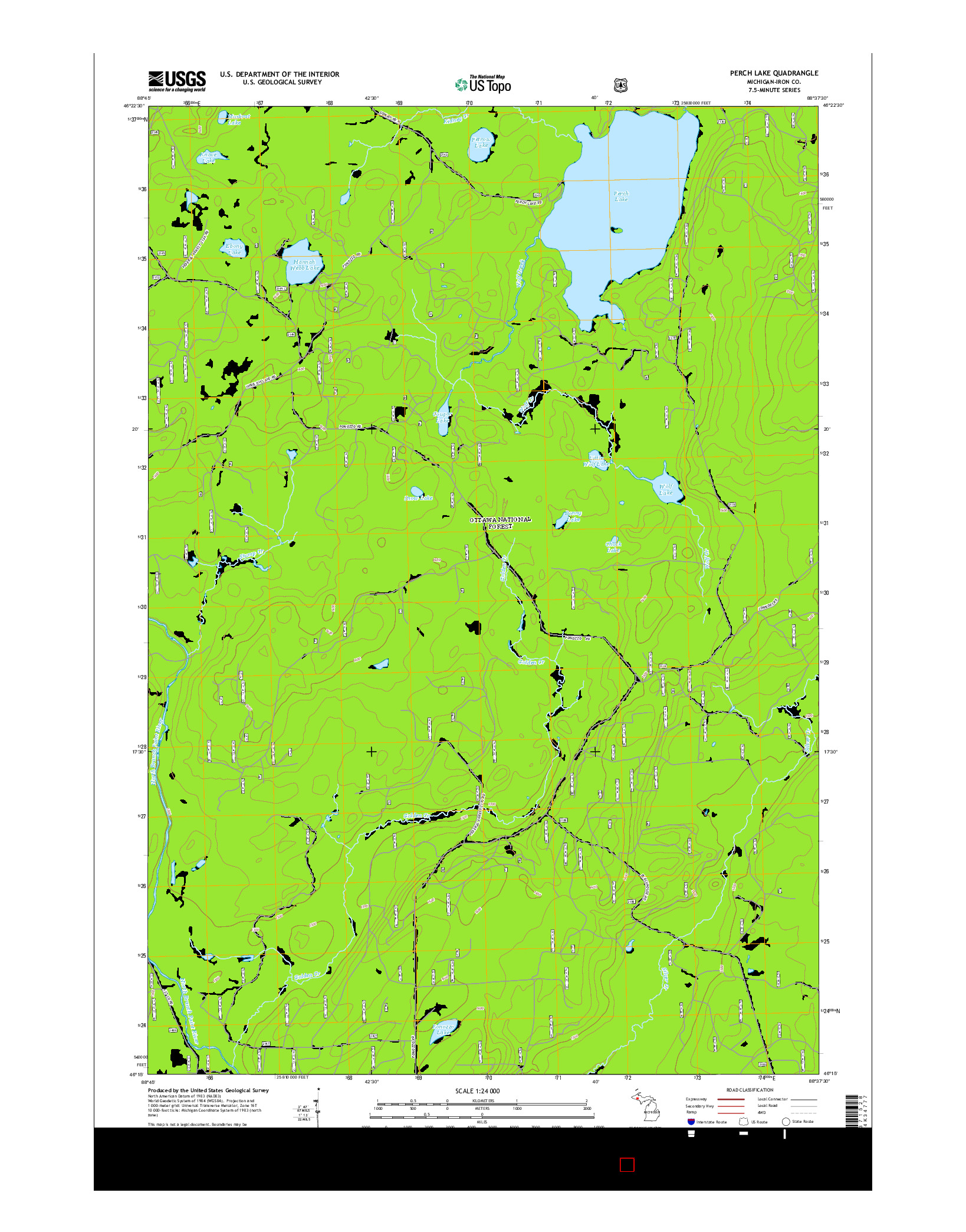 USGS US TOPO 7.5-MINUTE MAP FOR PERCH LAKE, MI 2014