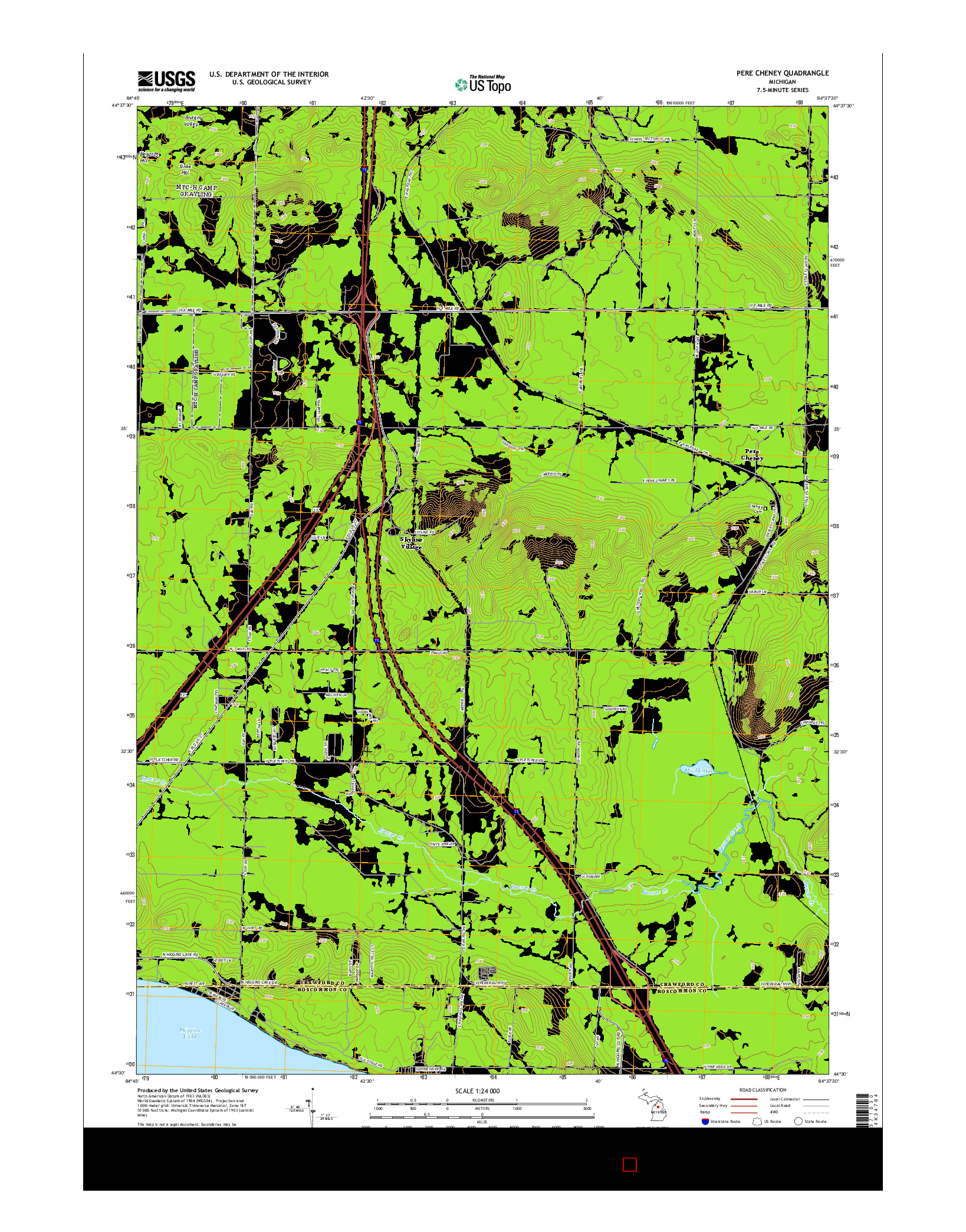 USGS US TOPO 7.5-MINUTE MAP FOR PERE CHENEY, MI 2014