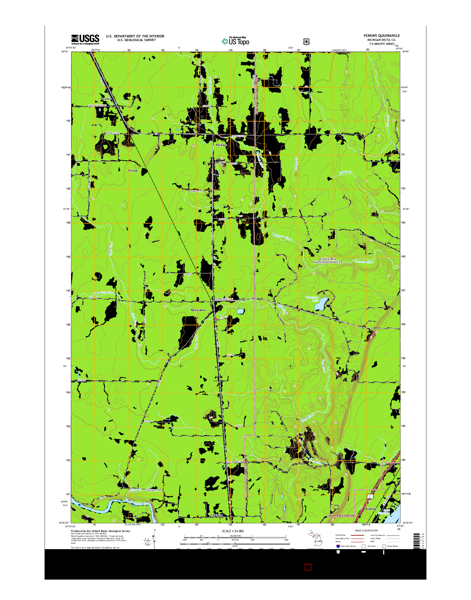 USGS US TOPO 7.5-MINUTE MAP FOR PERKINS, MI 2014