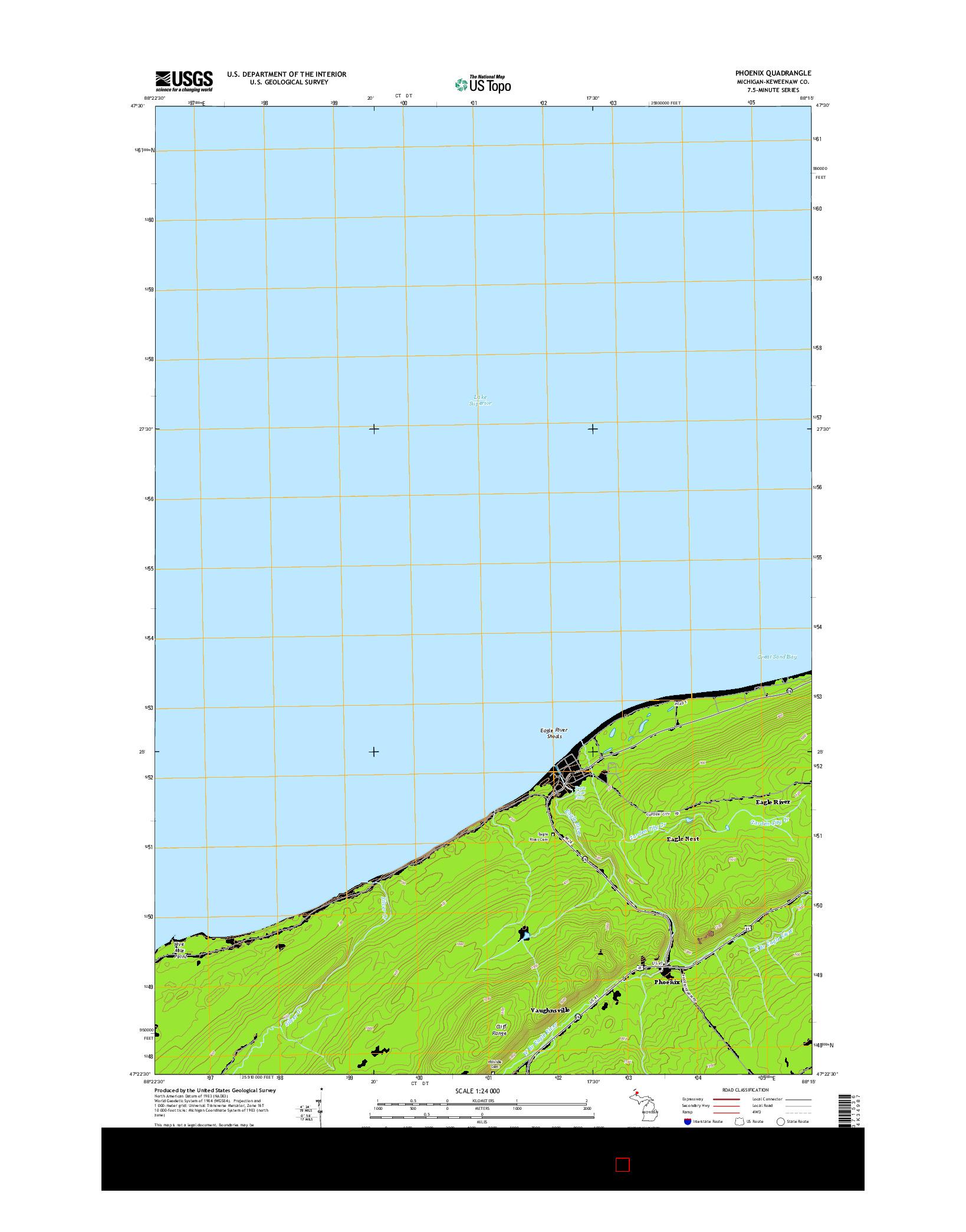 USGS US TOPO 7.5-MINUTE MAP FOR PHOENIX, MI 2014