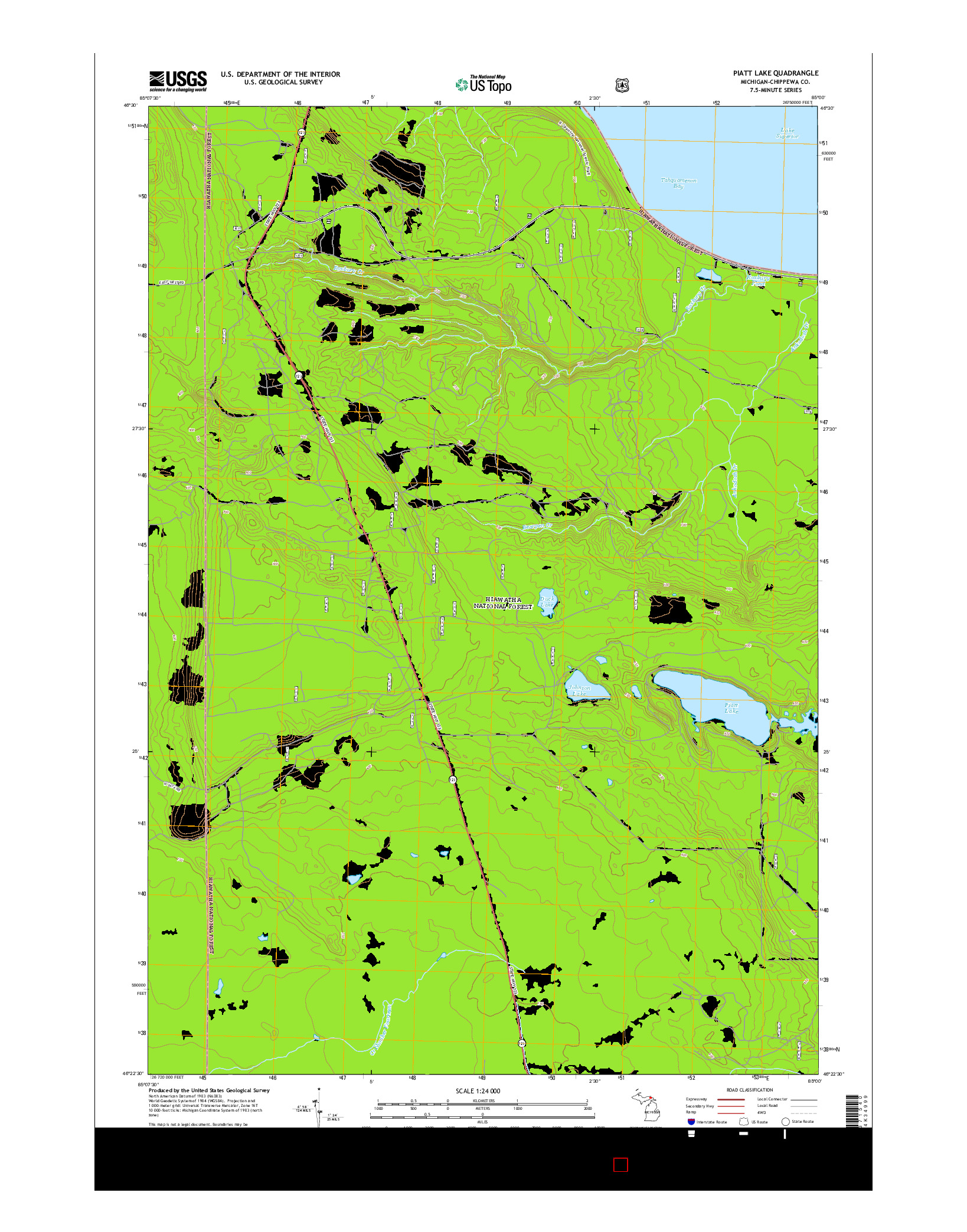 USGS US TOPO 7.5-MINUTE MAP FOR PIATT LAKE, MI 2014