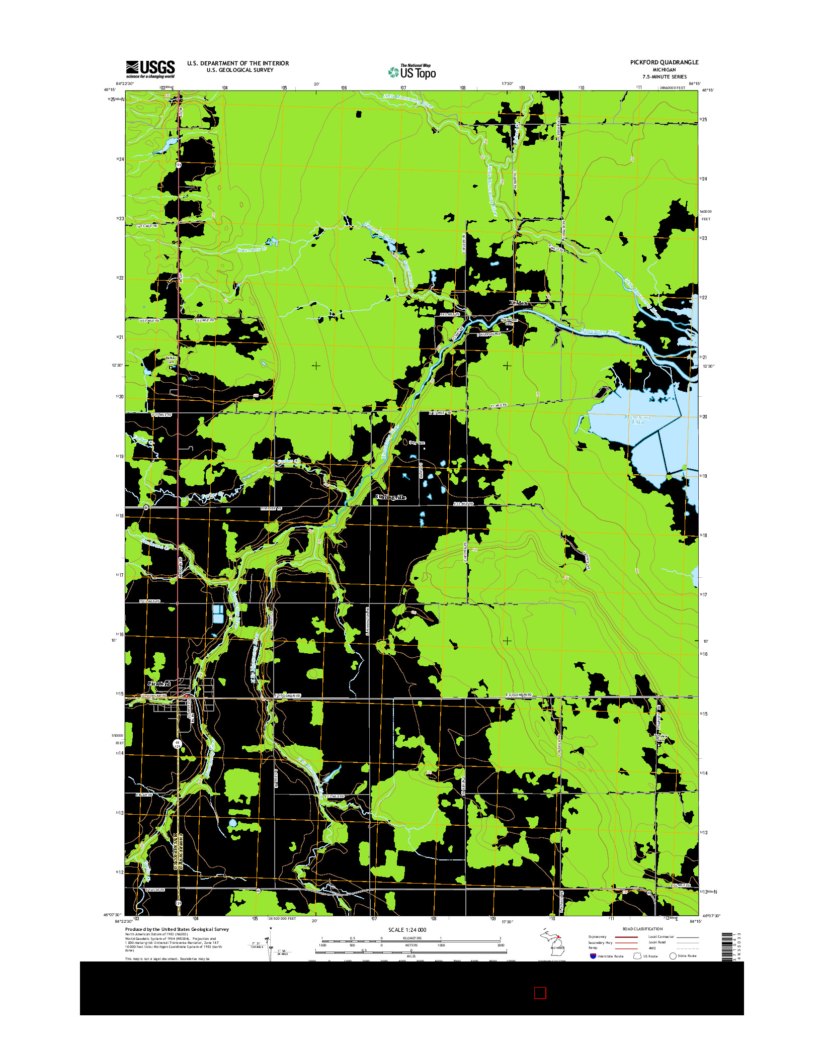 USGS US TOPO 7.5-MINUTE MAP FOR PICKFORD, MI 2014