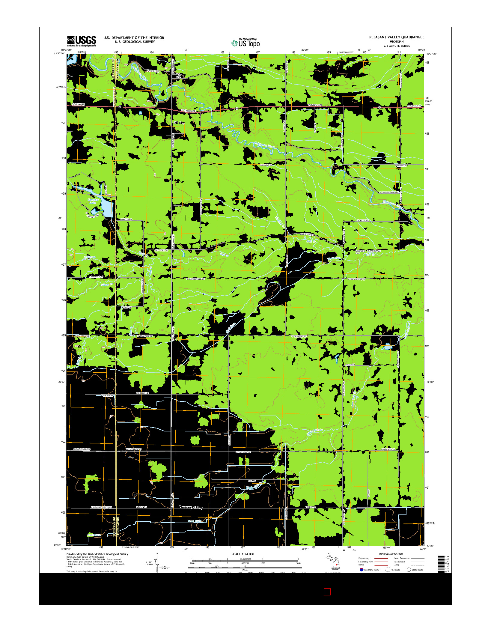 USGS US TOPO 7.5-MINUTE MAP FOR PLEASANT VALLEY, MI 2014