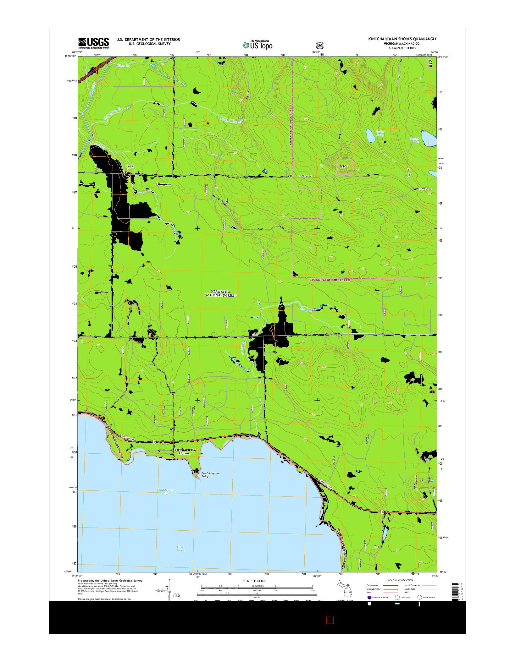 USGS US TOPO 7.5-MINUTE MAP FOR PONTCHARTRAIN SHORES, MI 2014