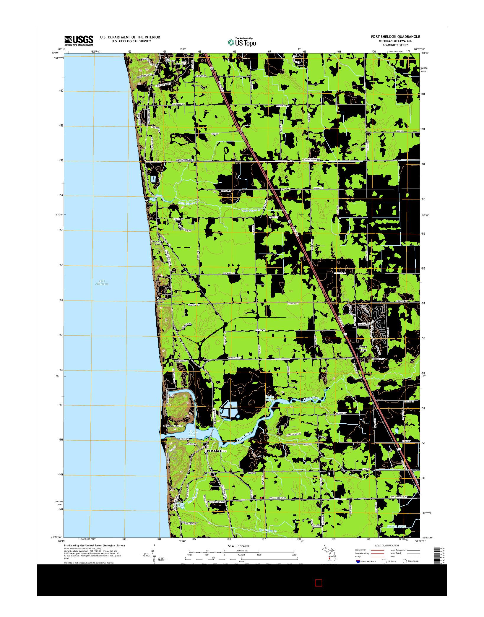 USGS US TOPO 7.5-MINUTE MAP FOR PORT SHELDON, MI 2014