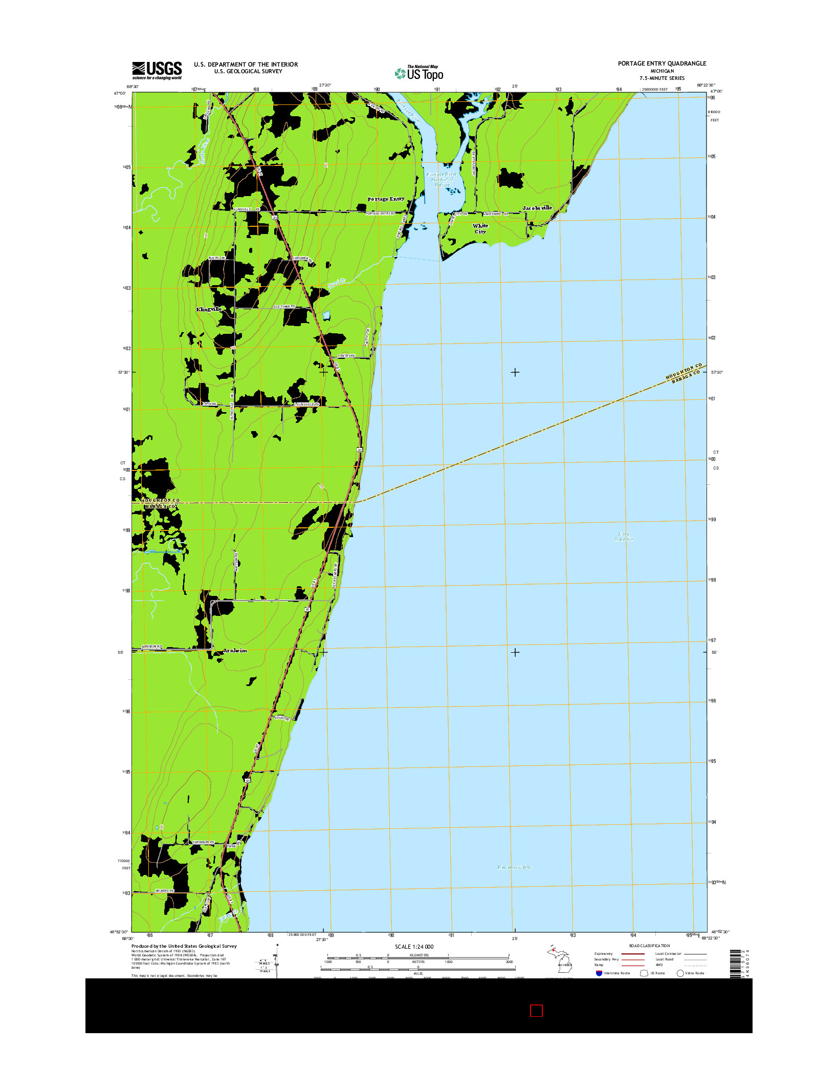 USGS US TOPO 7.5-MINUTE MAP FOR PORTAGE ENTRY, MI 2014