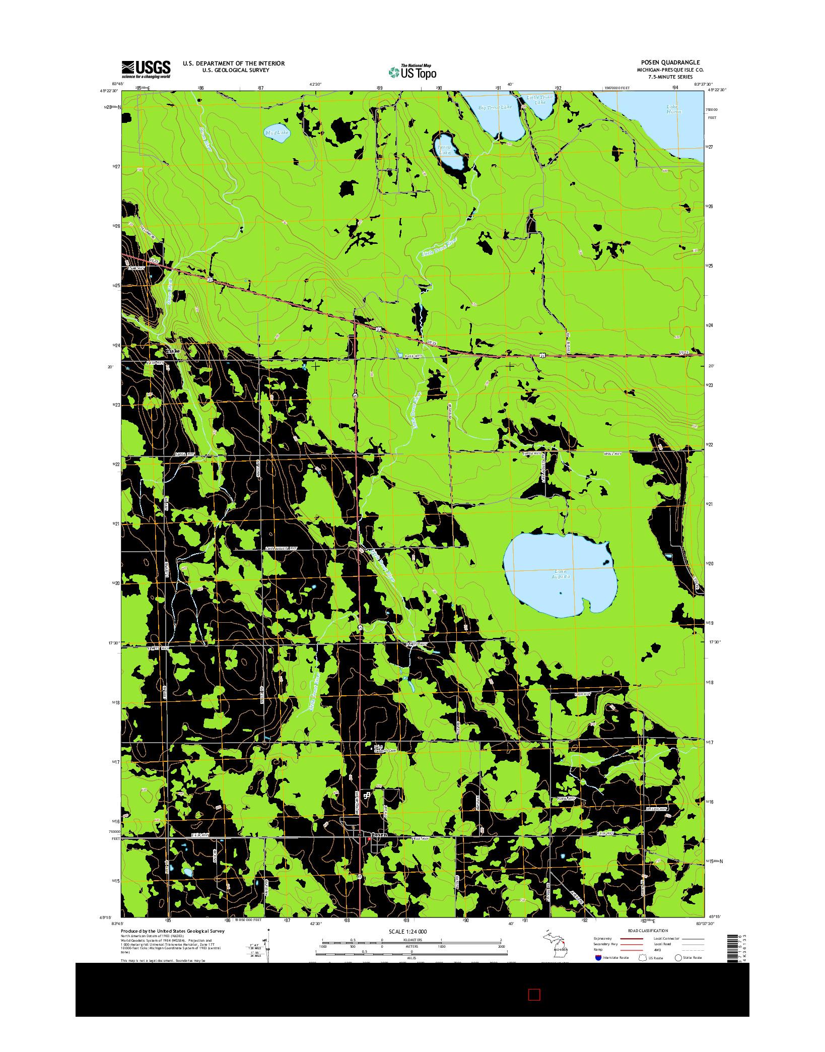 USGS US TOPO 7.5-MINUTE MAP FOR POSEN, MI 2014
