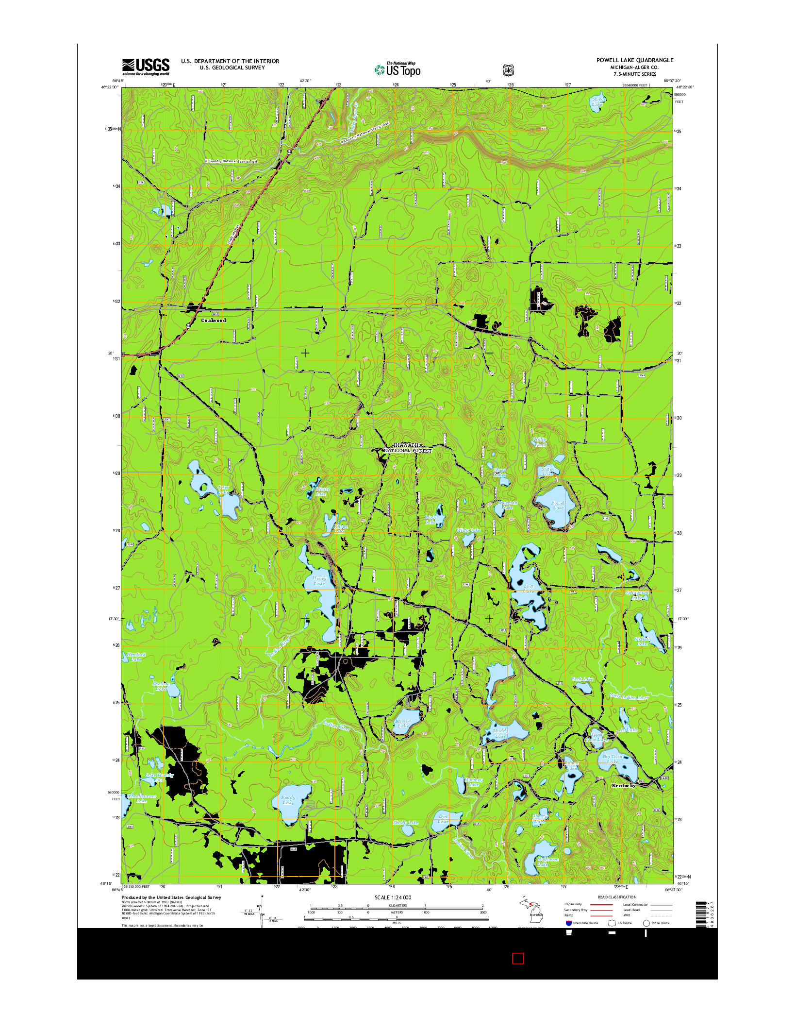 USGS US TOPO 7.5-MINUTE MAP FOR POWELL LAKE, MI 2014