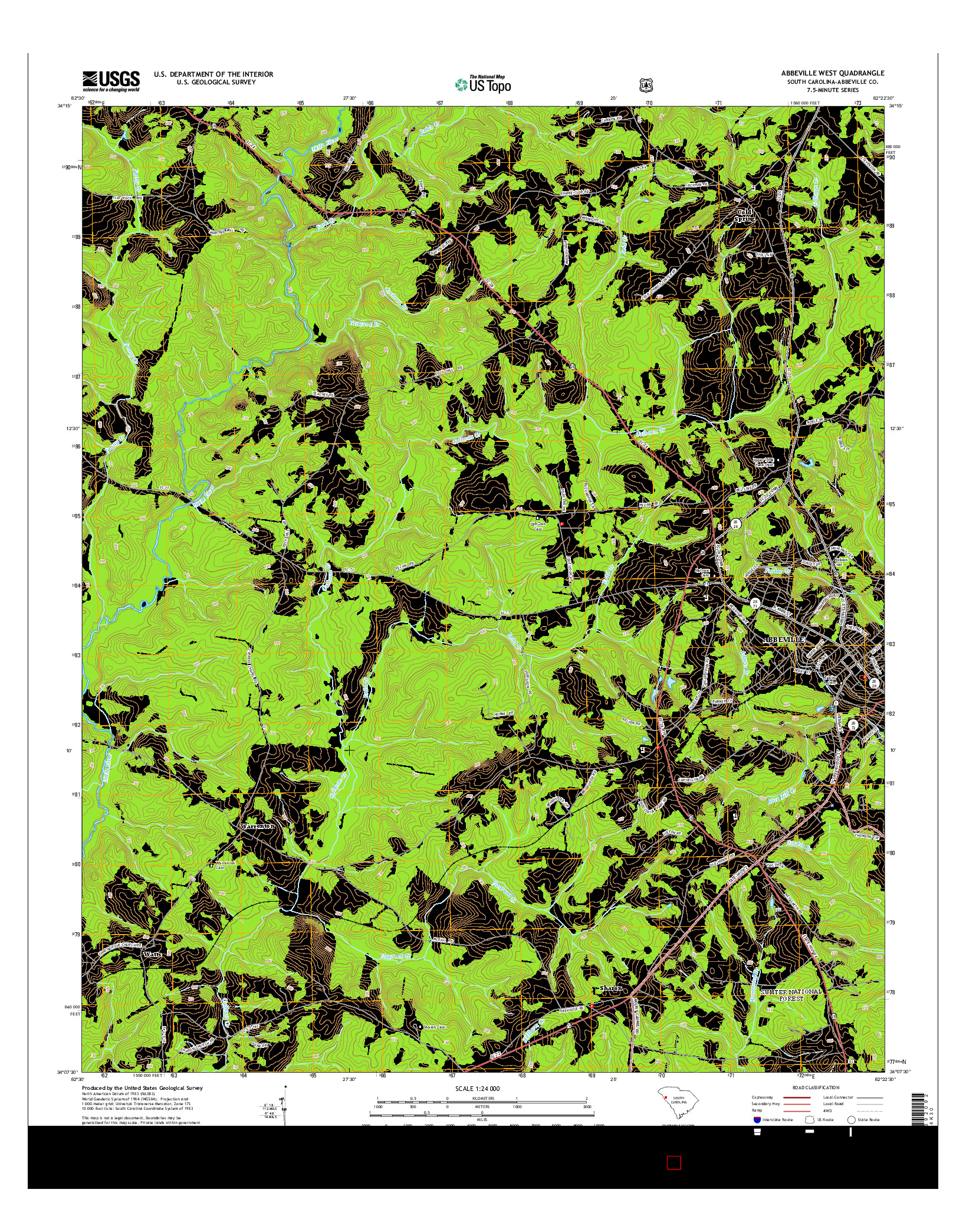USGS US TOPO 7.5-MINUTE MAP FOR ABBEVILLE WEST, SC 2014