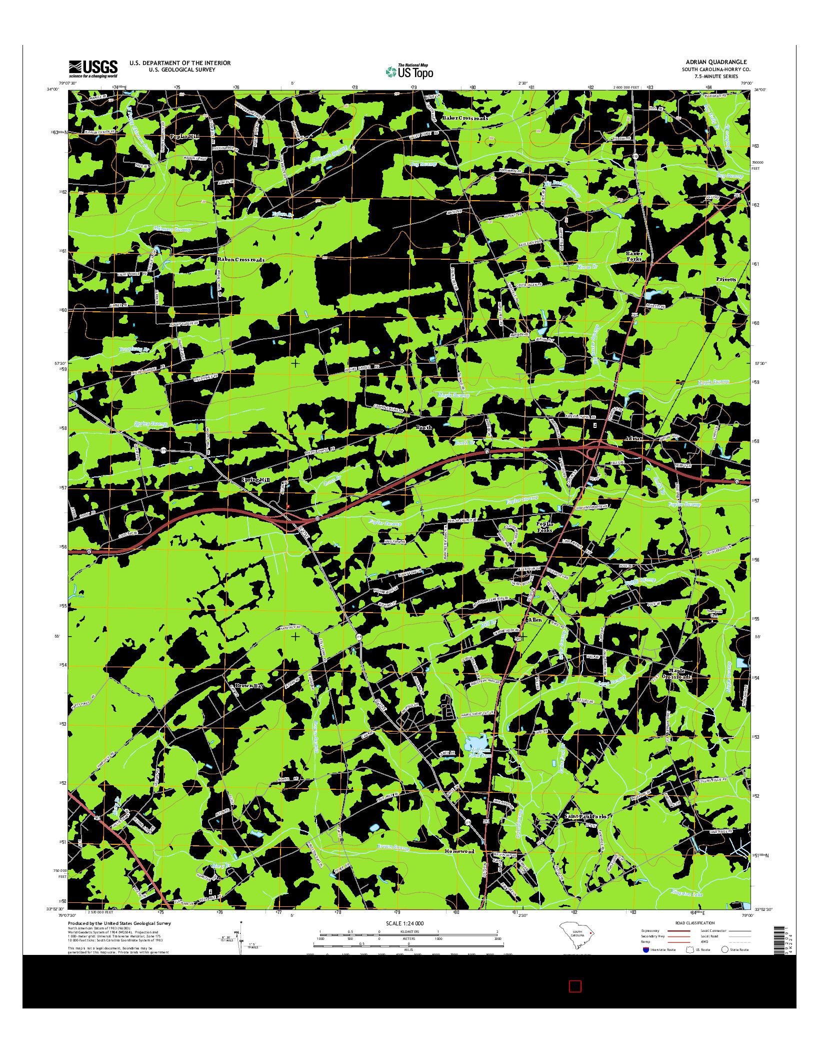 USGS US TOPO 7.5-MINUTE MAP FOR ADRIAN, SC 2014