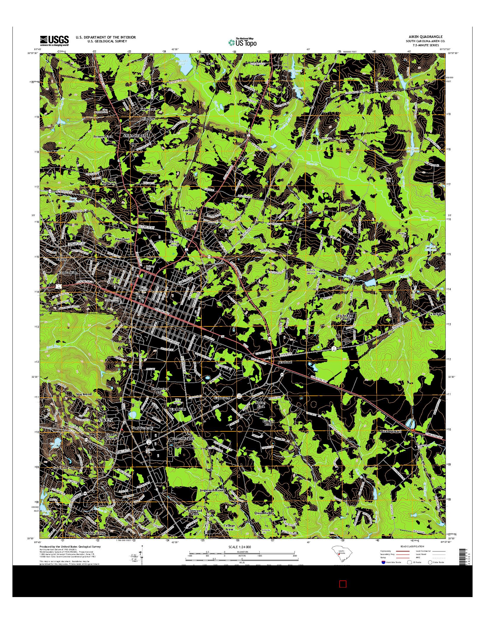 USGS US TOPO 7.5-MINUTE MAP FOR AIKEN, SC 2014