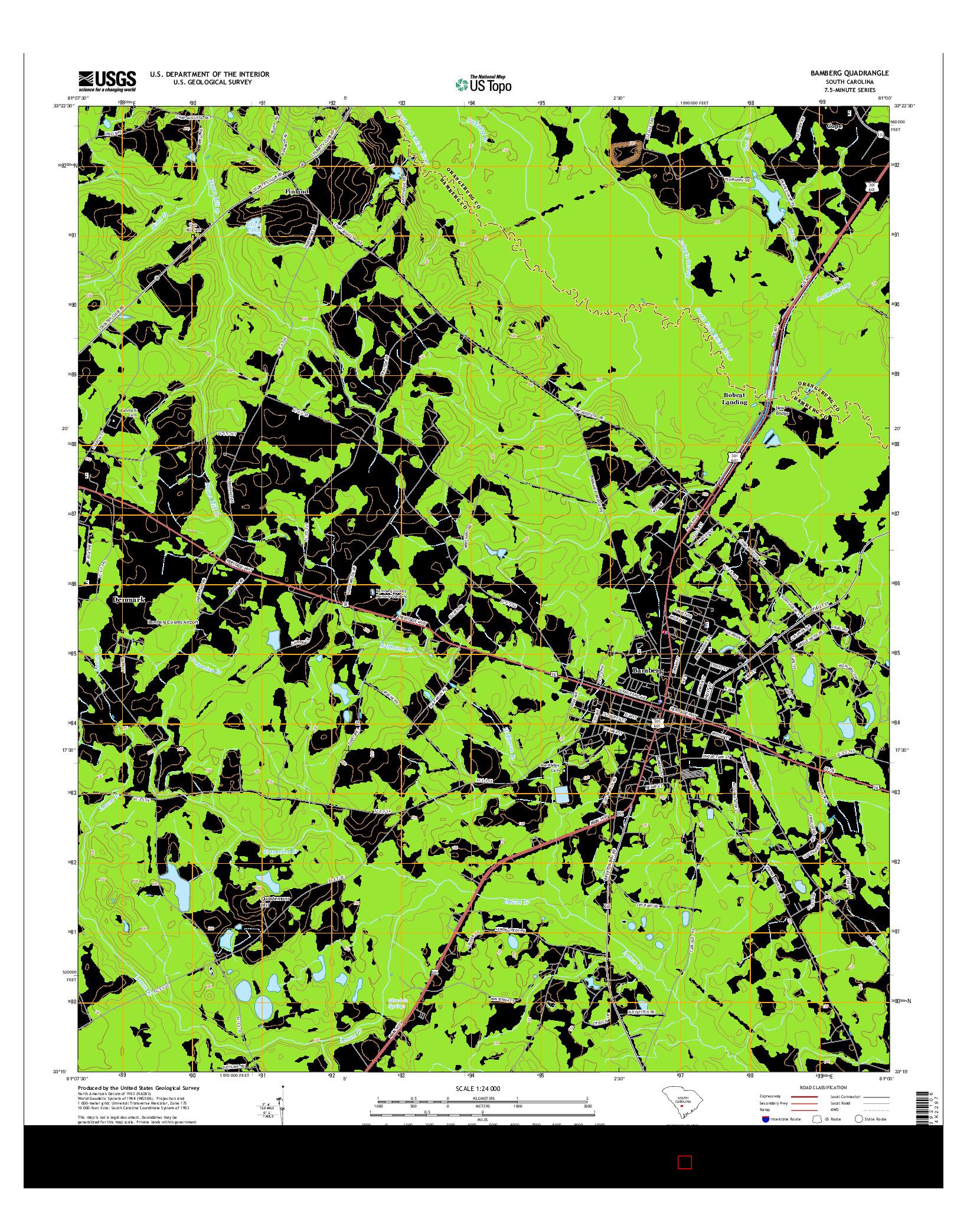 USGS US TOPO 7.5-MINUTE MAP FOR BAMBERG, SC 2014