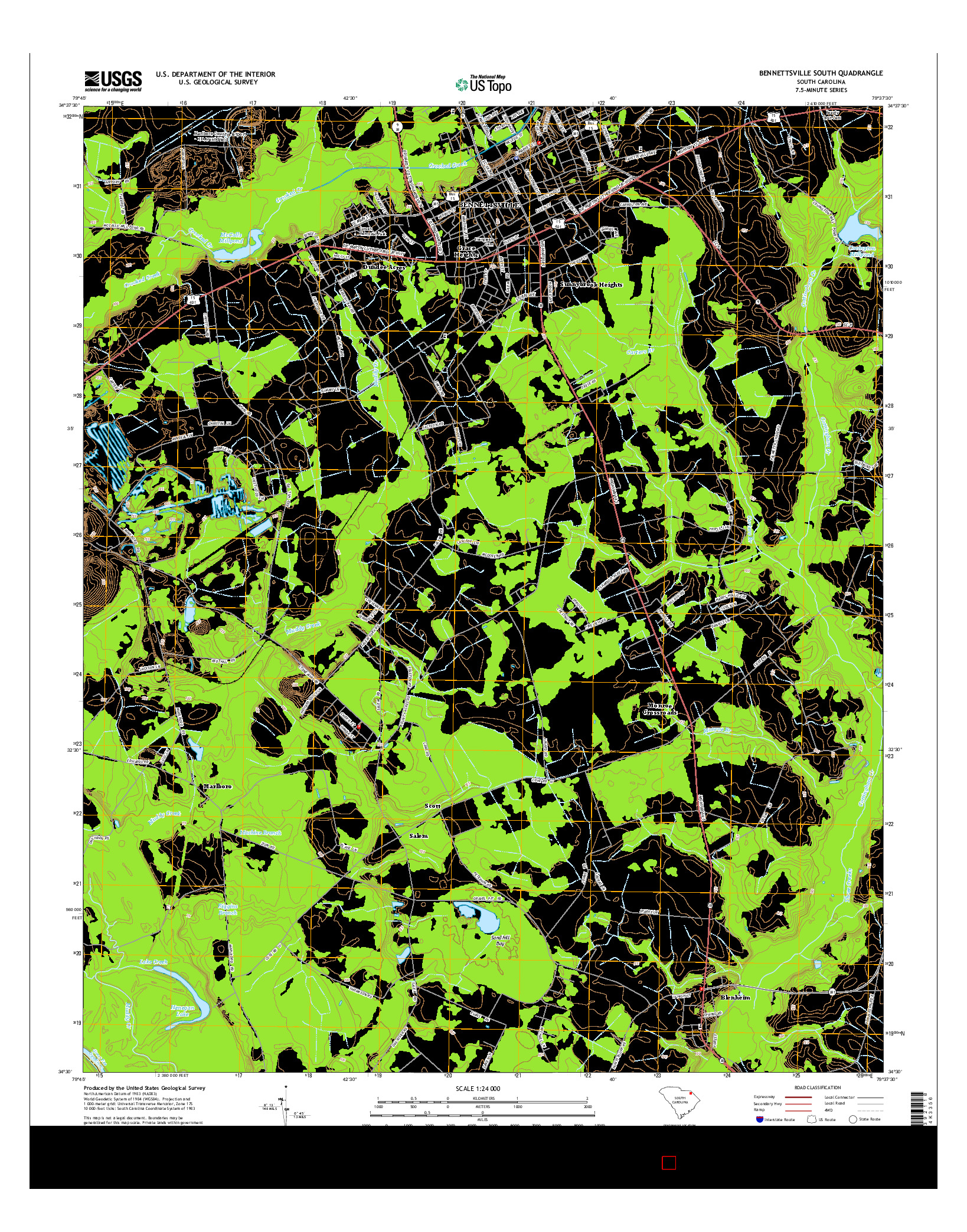 USGS US TOPO 7.5-MINUTE MAP FOR BENNETTSVILLE SOUTH, SC 2014