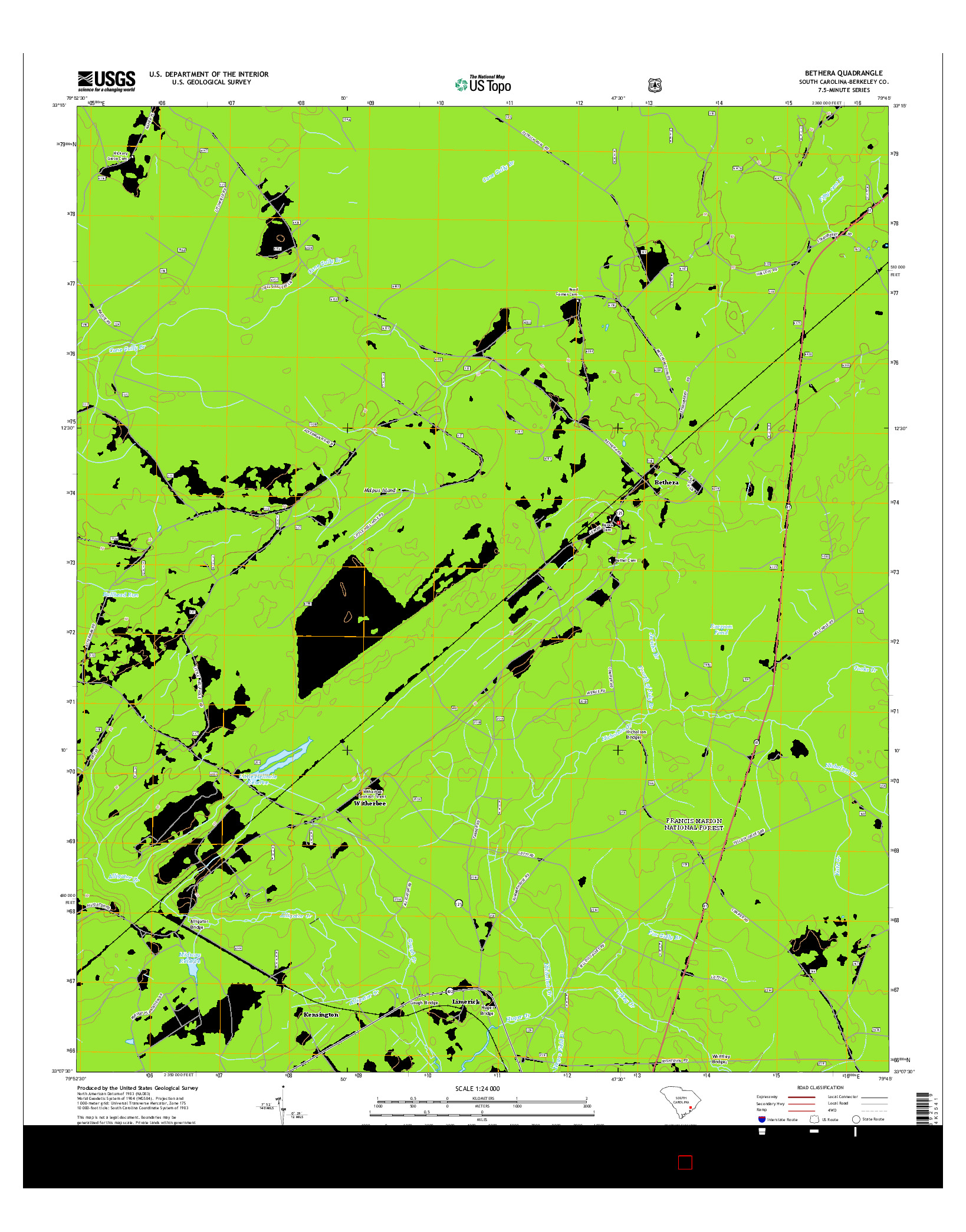 USGS US TOPO 7.5-MINUTE MAP FOR BETHERA, SC 2014