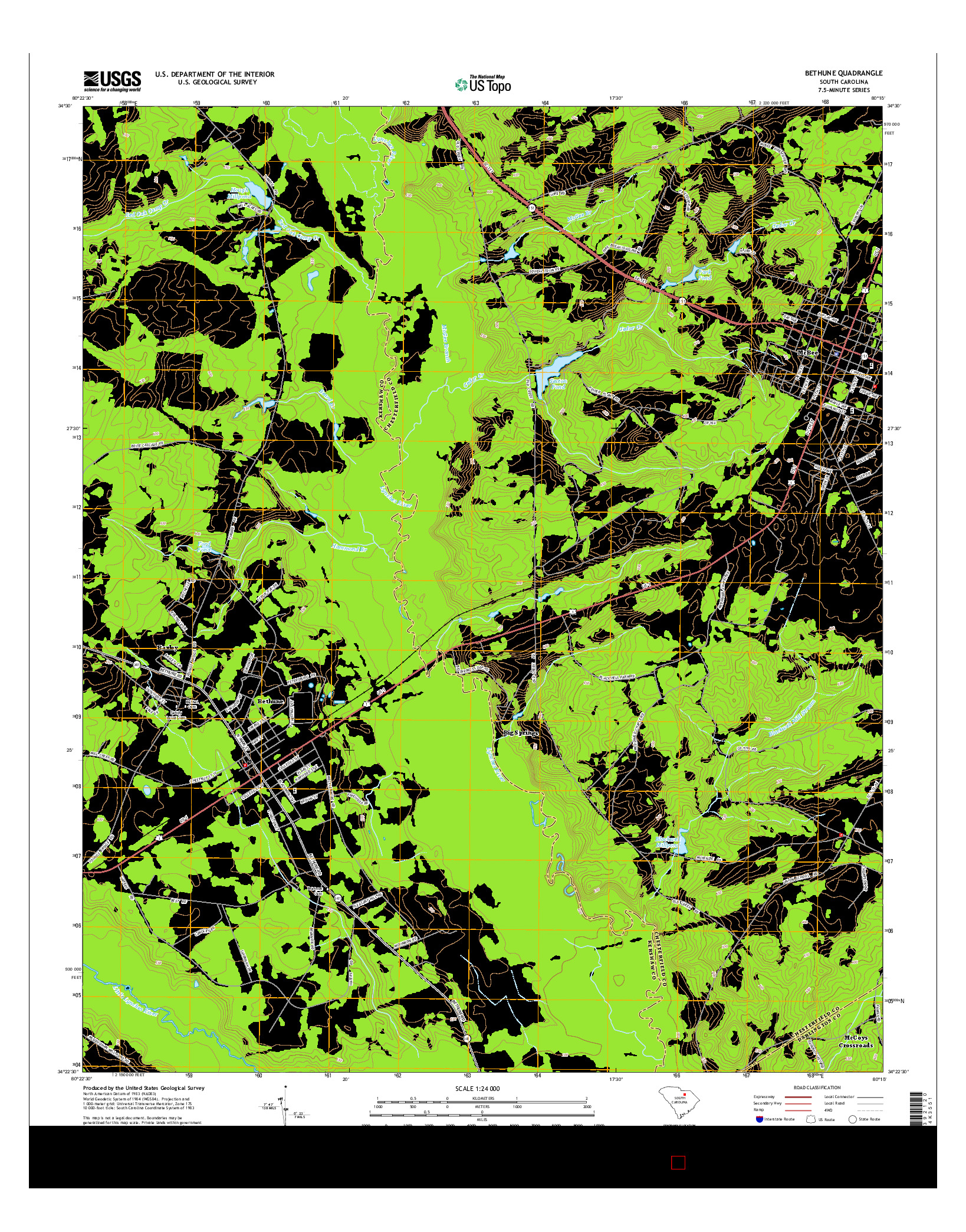USGS US TOPO 7.5-MINUTE MAP FOR BETHUNE, SC 2014