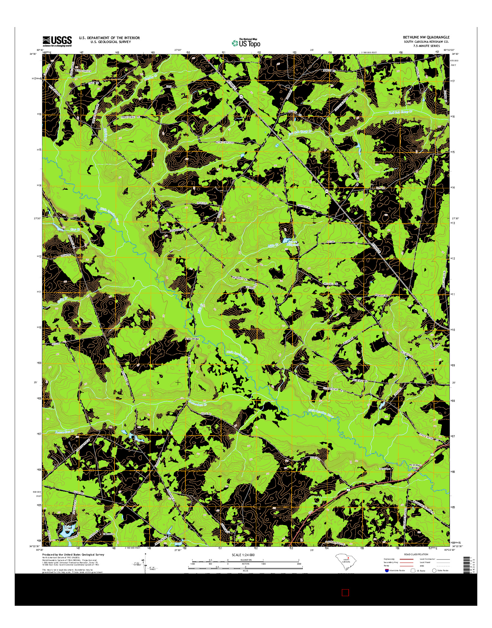 USGS US TOPO 7.5-MINUTE MAP FOR BETHUNE NW, SC 2014