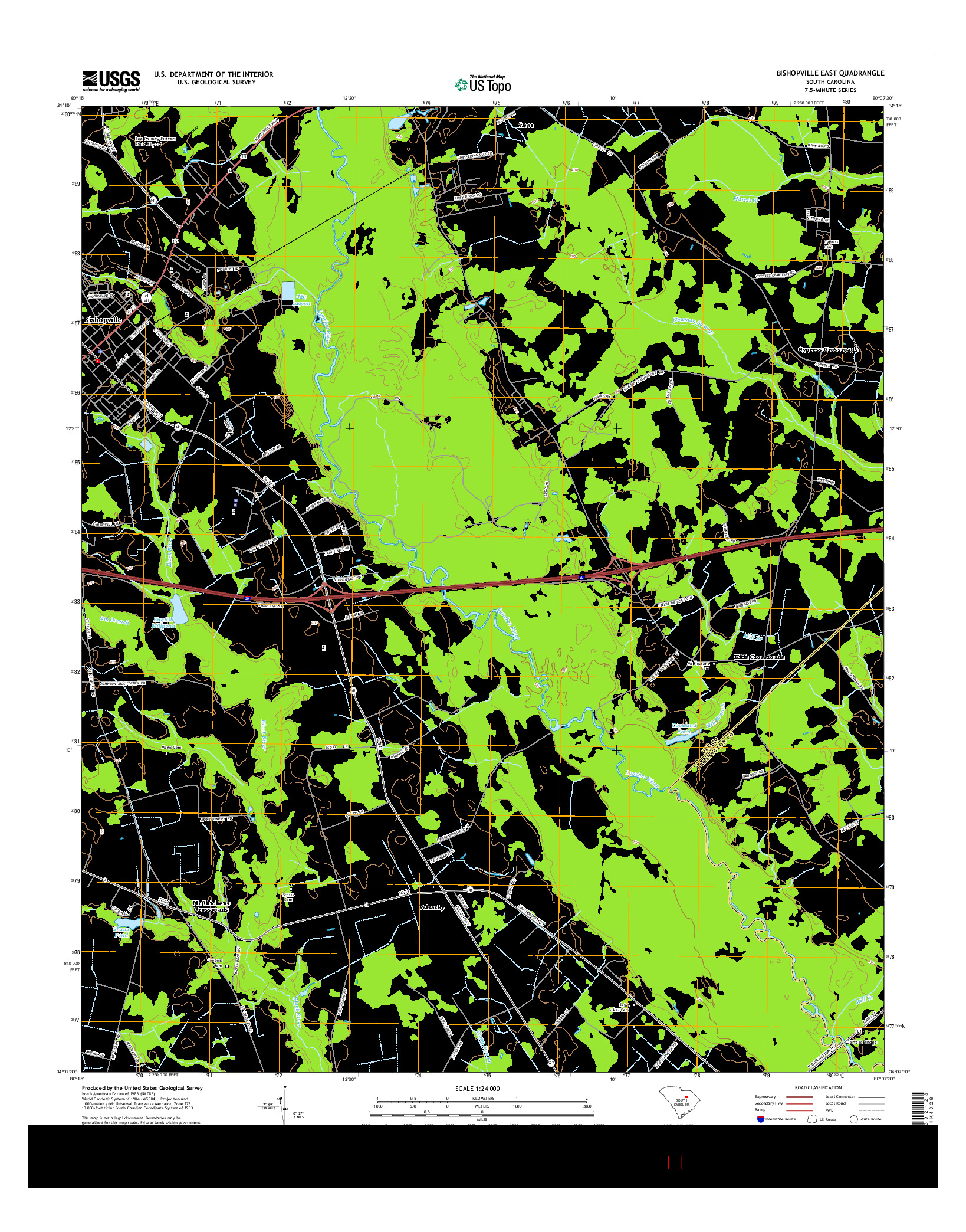 USGS US TOPO 7.5-MINUTE MAP FOR BISHOPVILLE EAST, SC 2014