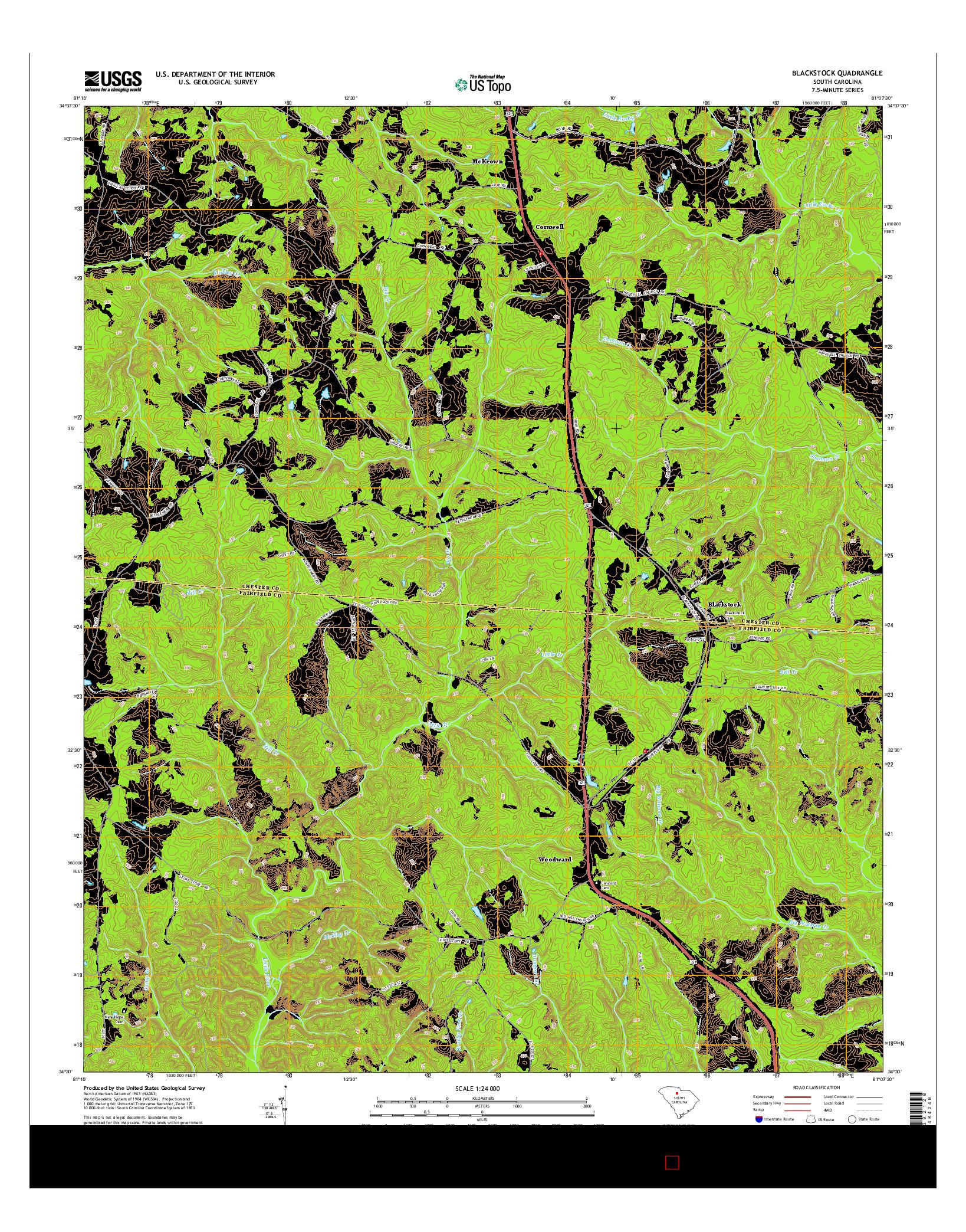 USGS US TOPO 7.5-MINUTE MAP FOR BLACKSTOCK, SC 2014