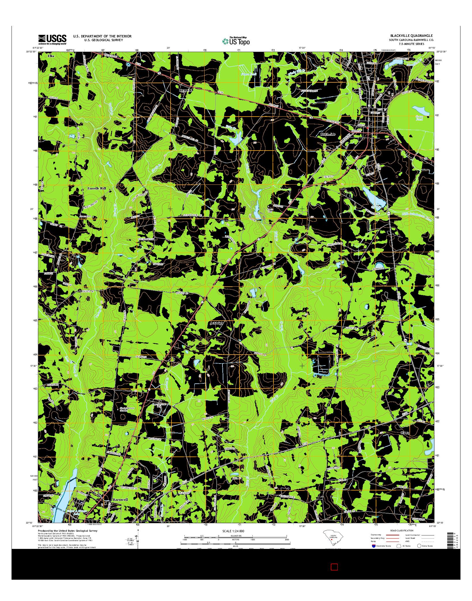 USGS US TOPO 7.5-MINUTE MAP FOR BLACKVILLE, SC 2014