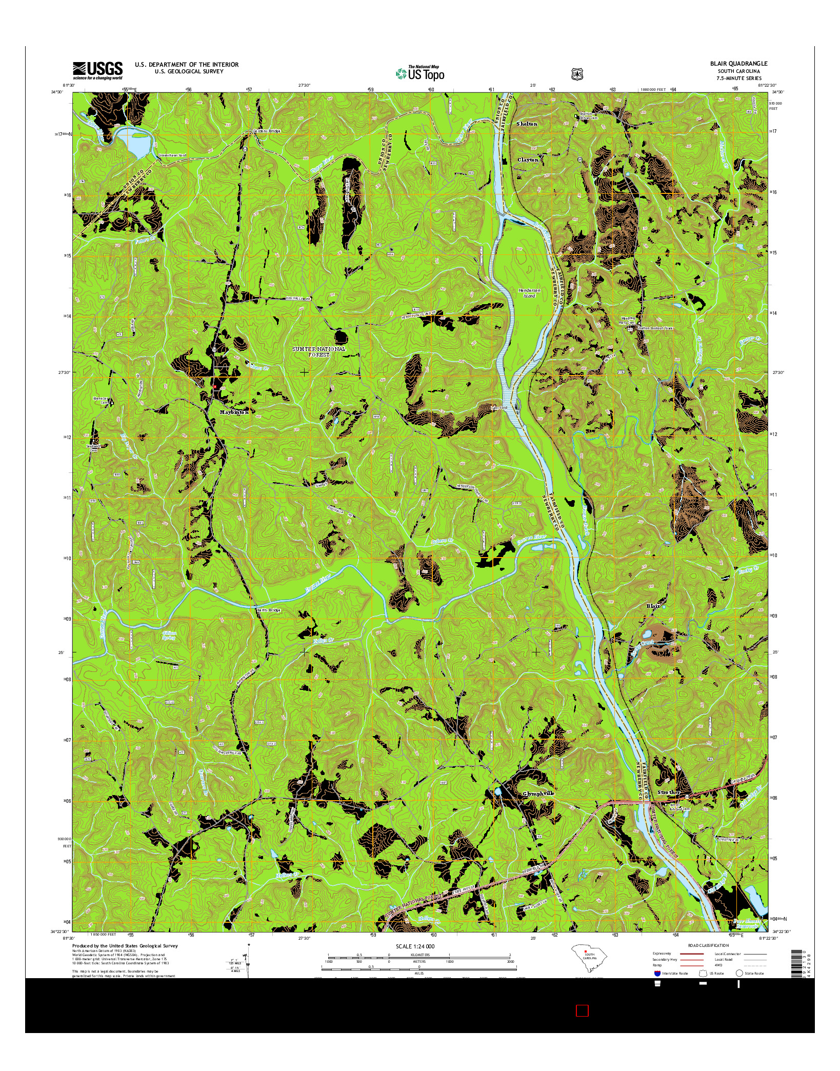 USGS US TOPO 7.5-MINUTE MAP FOR BLAIR, SC 2014