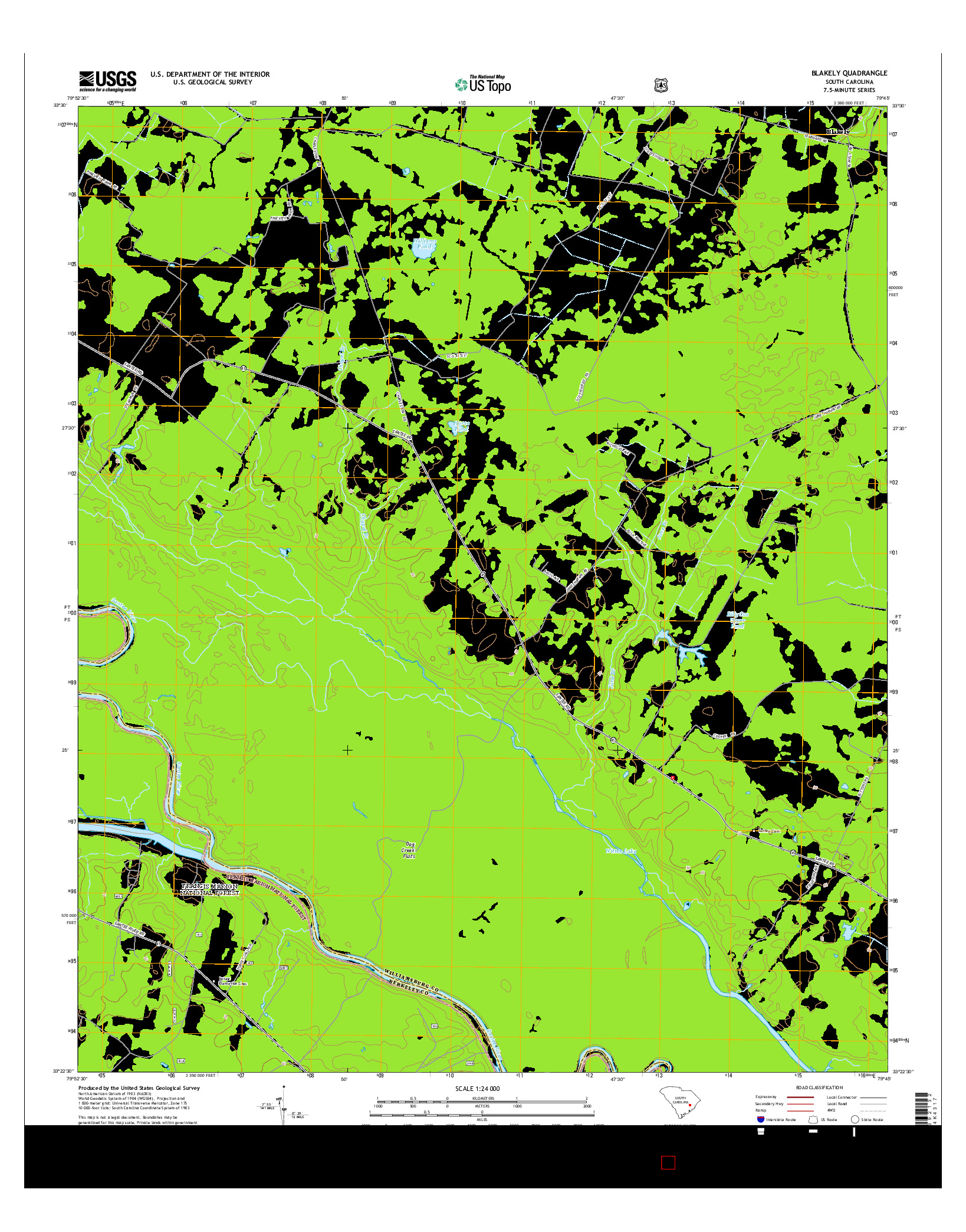 USGS US TOPO 7.5-MINUTE MAP FOR BLAKELY, SC 2014