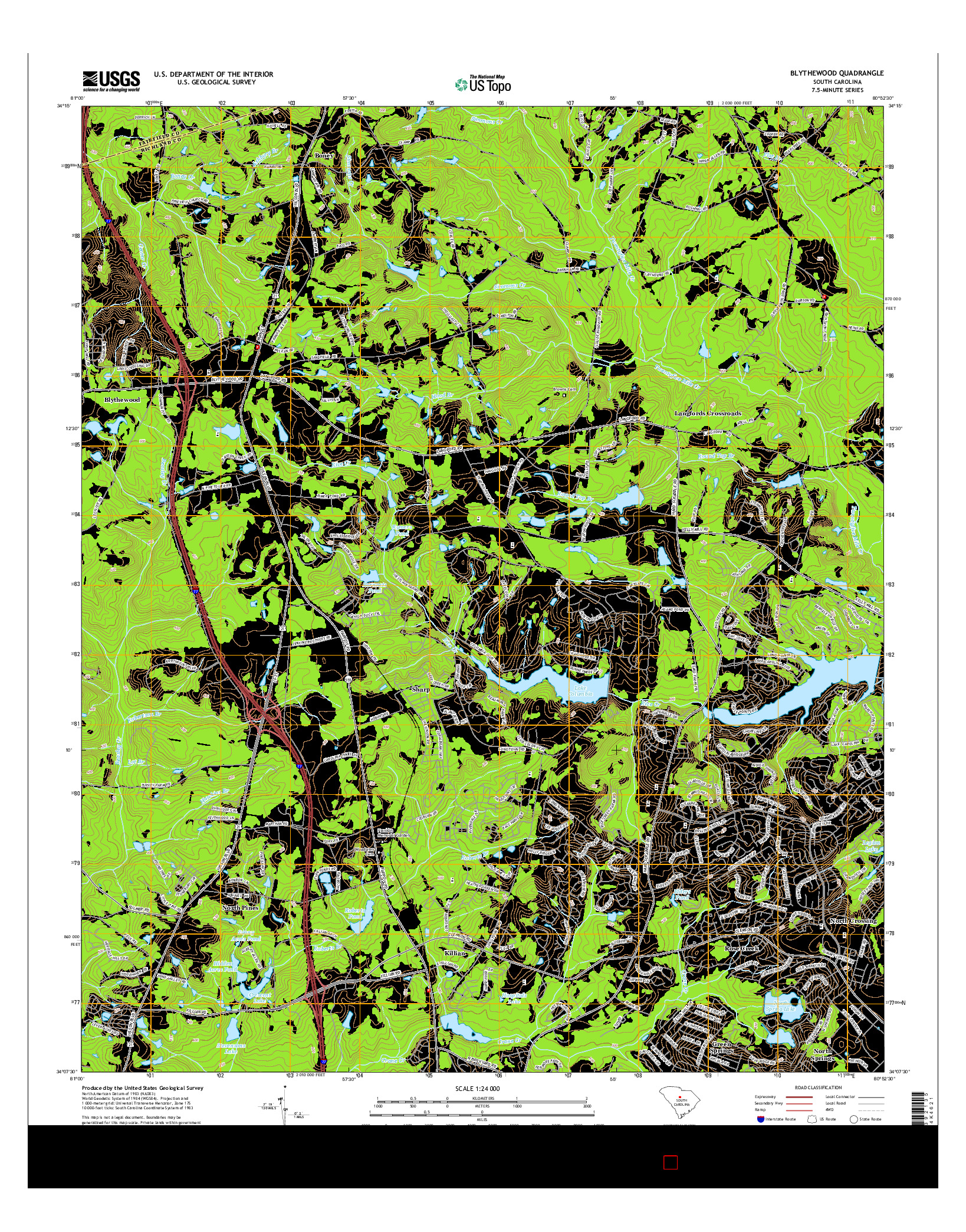 USGS US TOPO 7.5-MINUTE MAP FOR BLYTHEWOOD, SC 2014